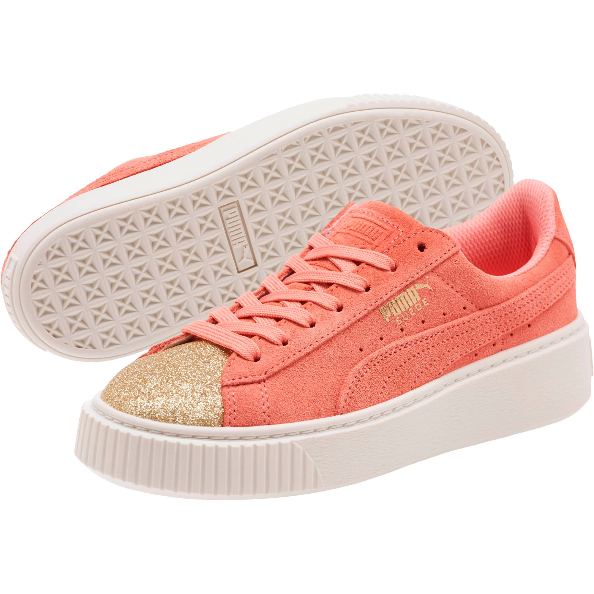 Thumbnail 2 of Suede Platform Glam Girls' Sneakers, Puma Team Gold-Shell Pink, medium