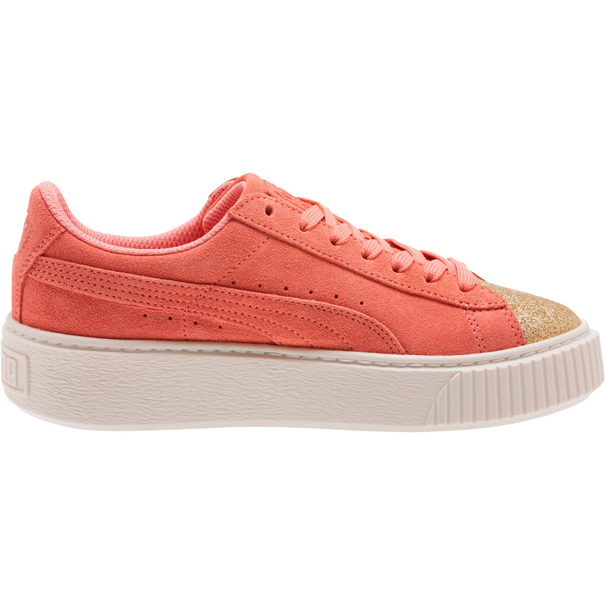 Thumbnail 3 of Suede Platform Glam Girls' Sneakers, Puma Team Gold-Shell Pink, medium