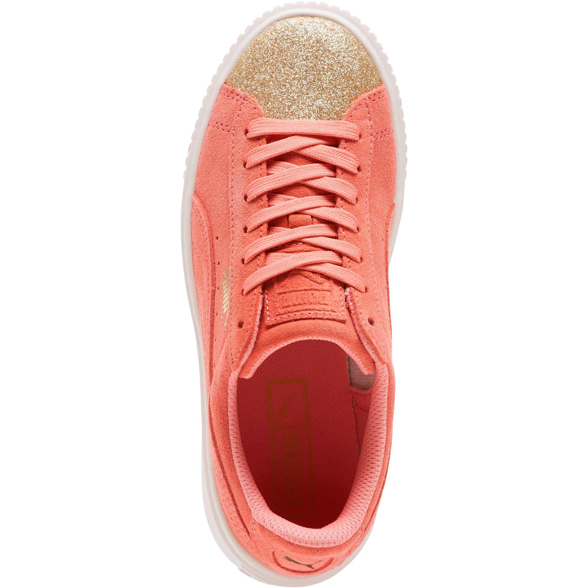 Thumbnail 5 of Suede Platform Glam Girls' Sneakers, Puma Team Gold-Shell Pink, medium