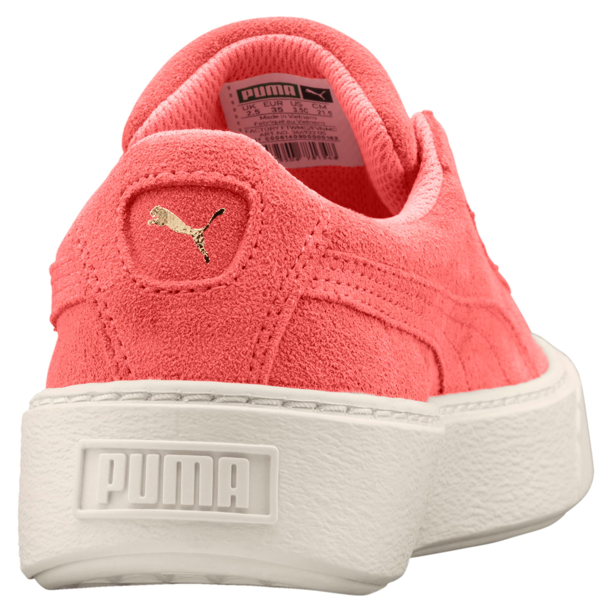 Thumbnail 4 of Suede Glam Girl's Sneakers JR, Puma Team Gold-Shell Pink, medium