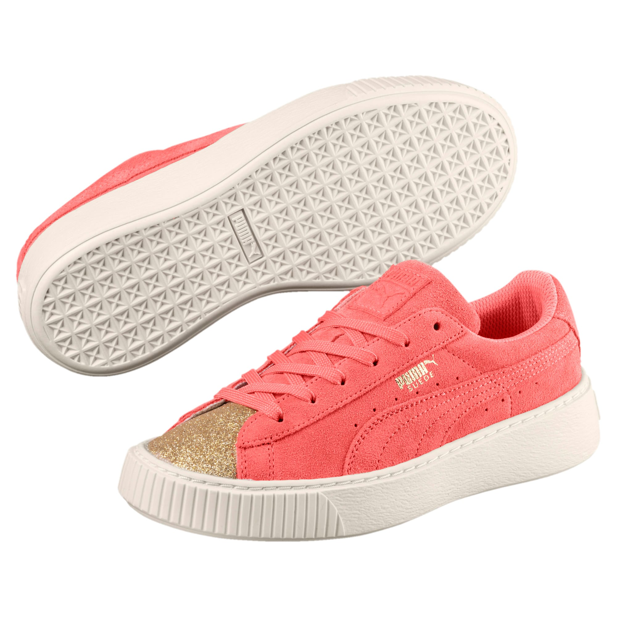 Thumbnail 2 of Suede Glam Girl's Sneakers JR, Puma Team Gold-Shell Pink, medium