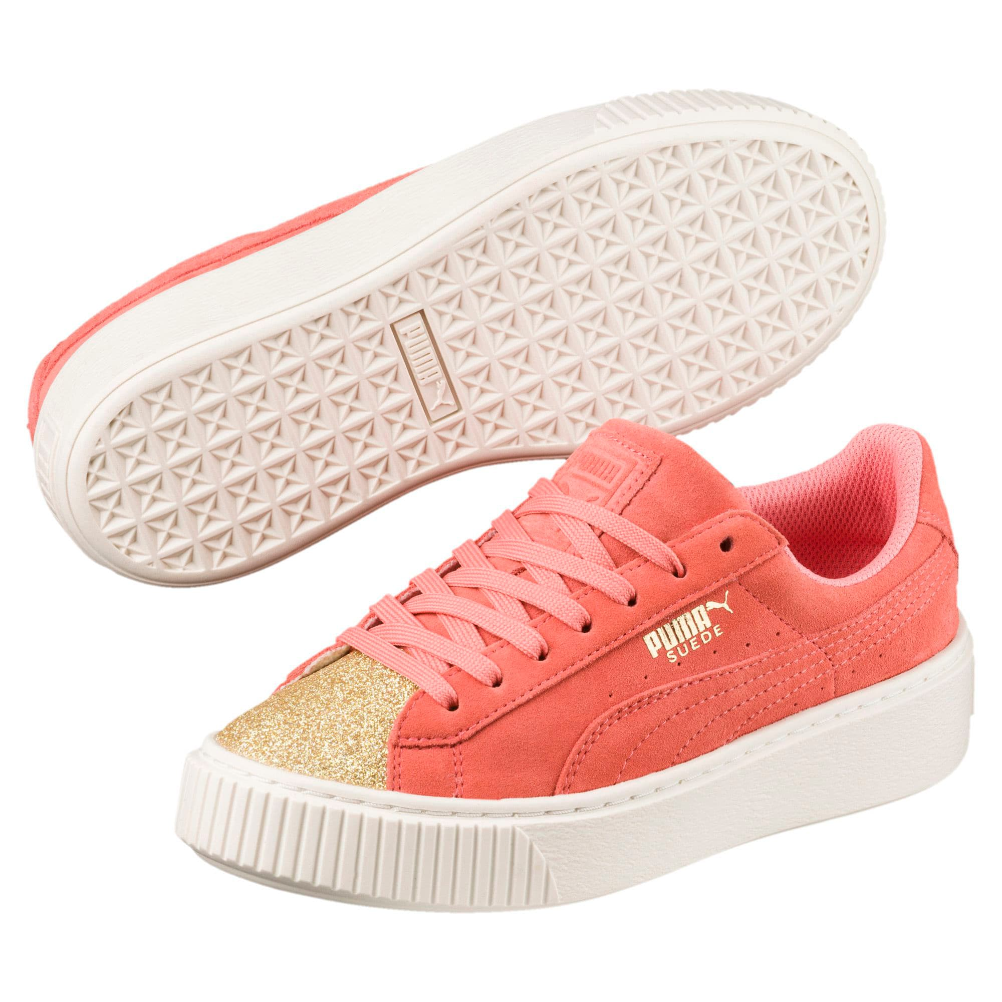 Thumbnail 1 of Suede Glam Girl's Sneakers JR, Puma Team Gold-Shell Pink, medium