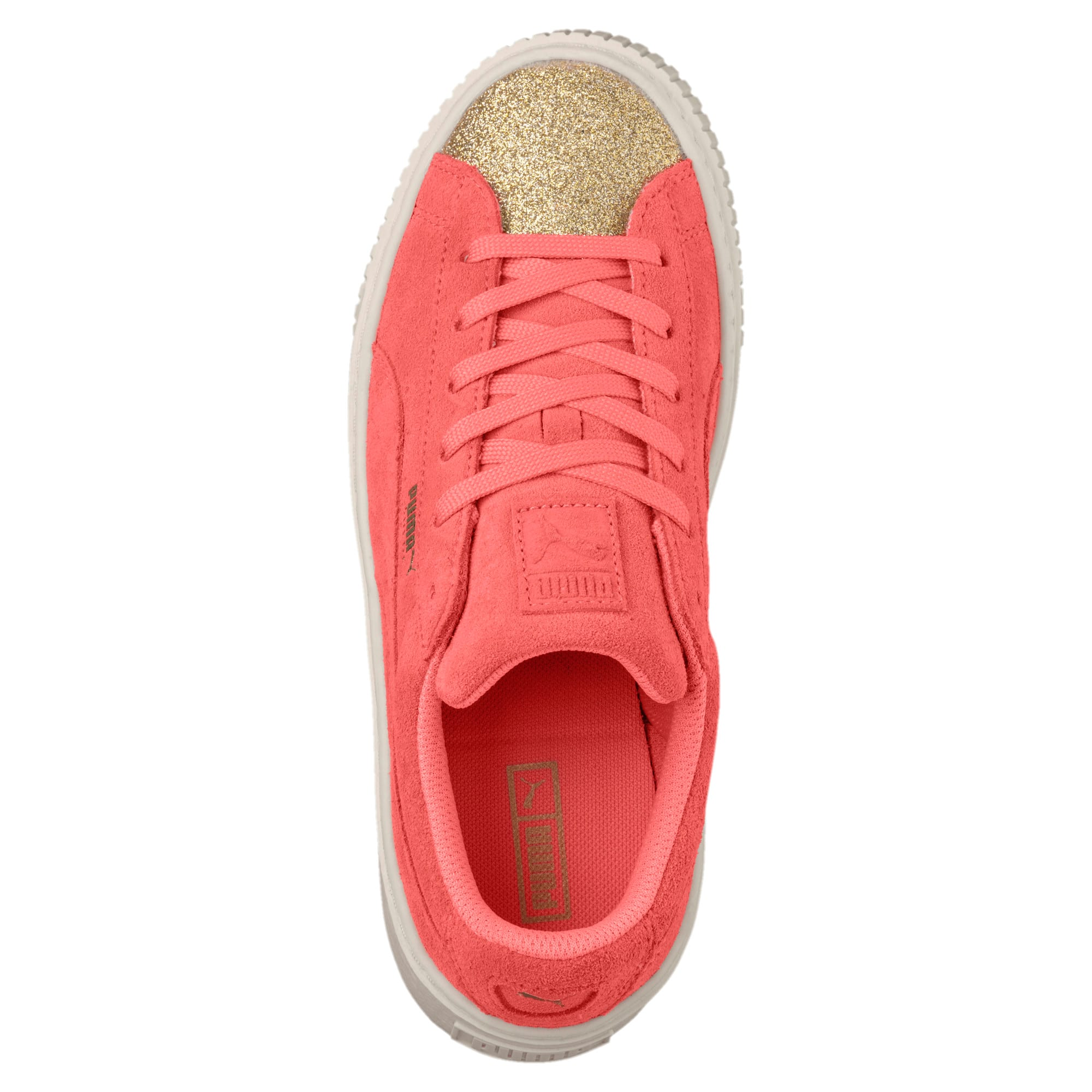 Thumbnail 5 of Suede Glam Girl's Sneakers JR, Puma Team Gold-Shell Pink, medium