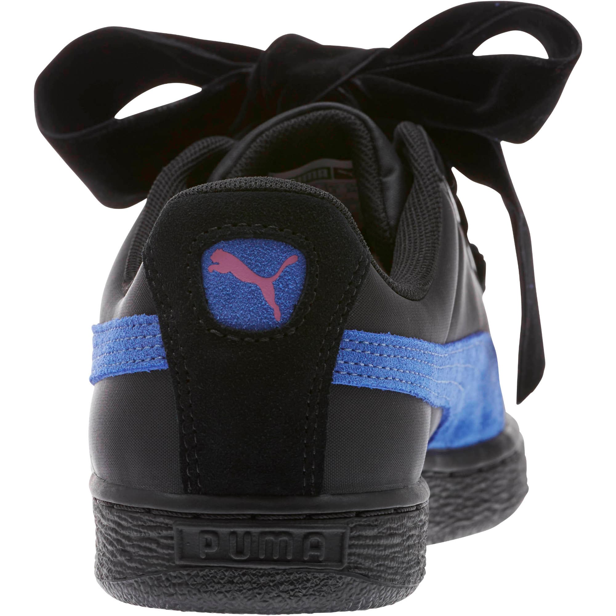 Thumbnail 4 of Basket Heart Nylon Women's Sneakers, Puma Black-Baja Blue, medium