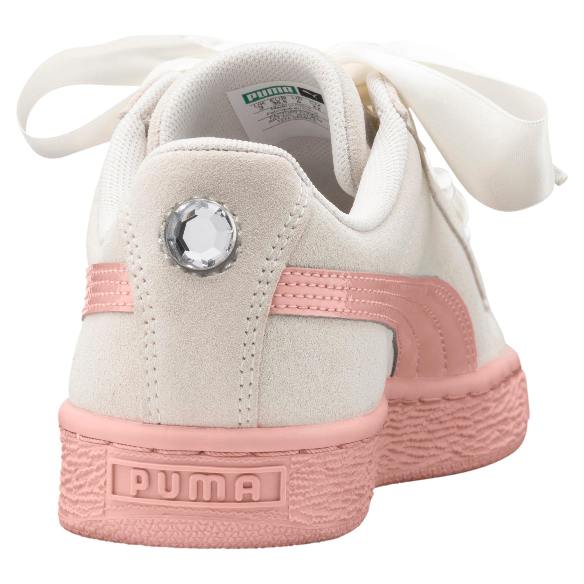 Thumbnail 4 of Suede Heart Jewel Sneakers JR, Whisper White-Peach Beige, medium
