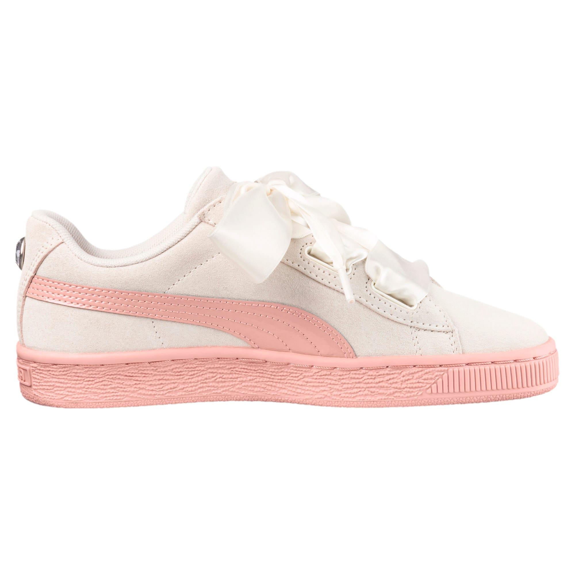 Thumbnail 3 of Suede Heart Jewel Sneakers JR, Whisper White-Peach Beige, medium