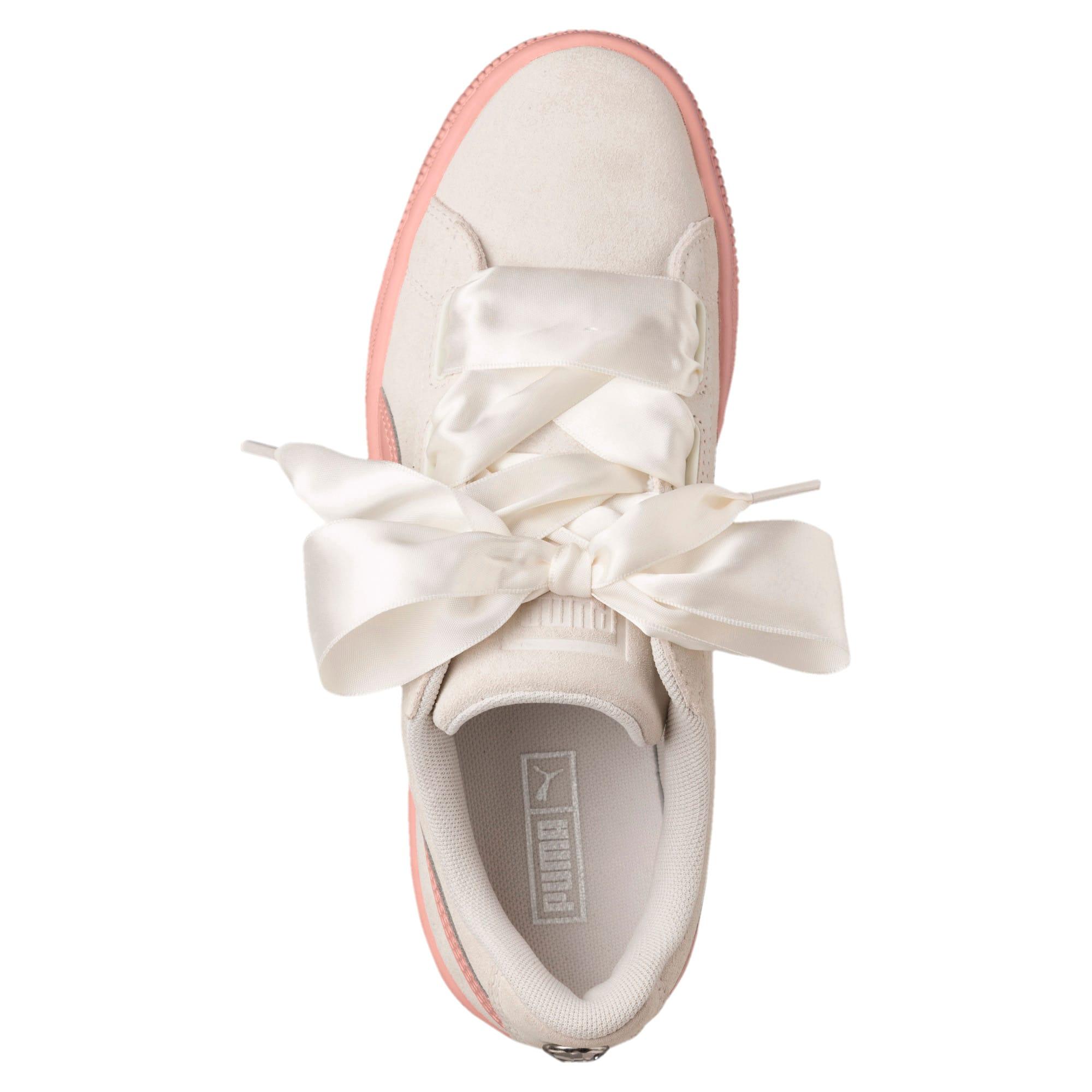 Thumbnail 5 of Suede Heart Jewel Sneakers JR, Whisper White-Peach Beige, medium