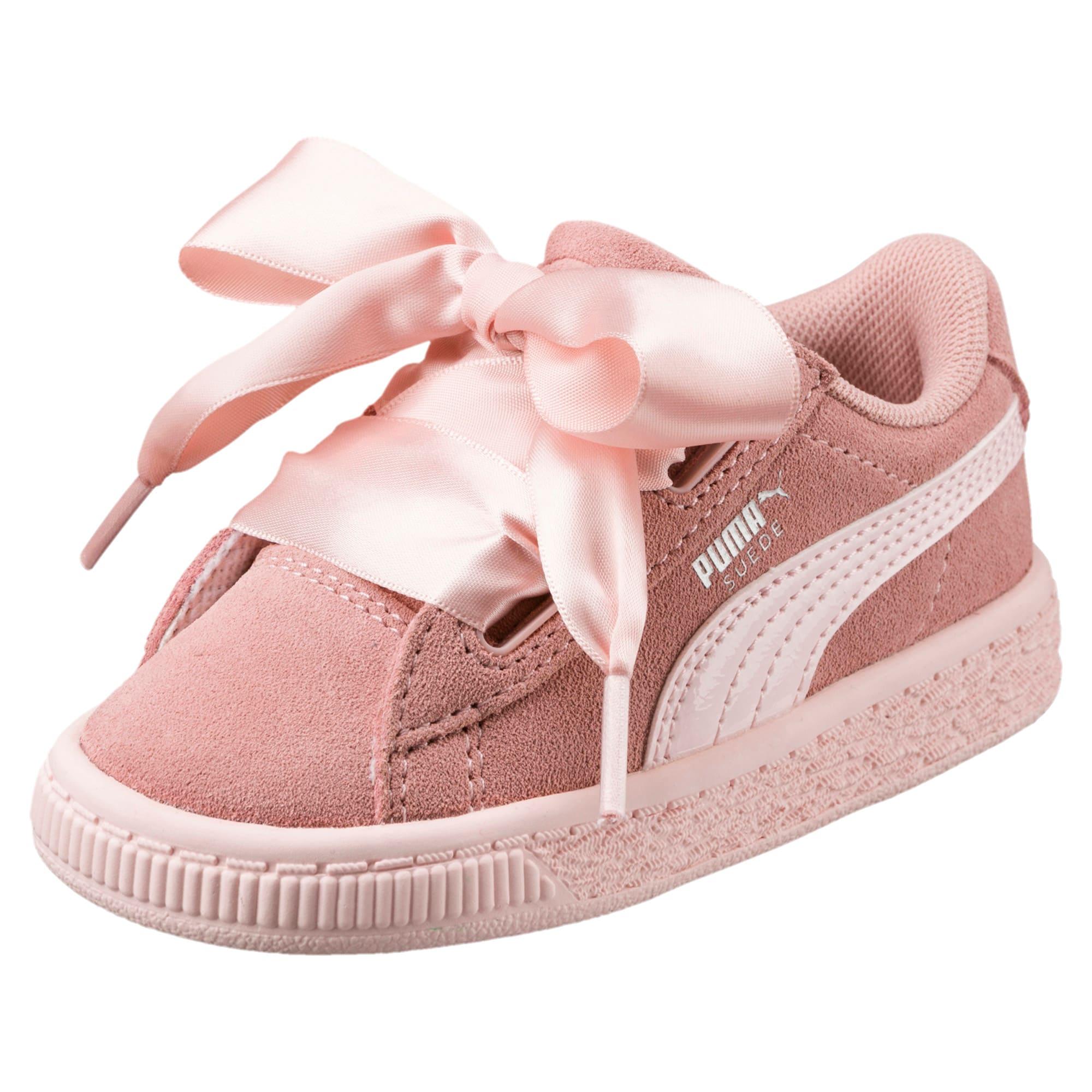 Suede Heart Jewel Baby Trainers