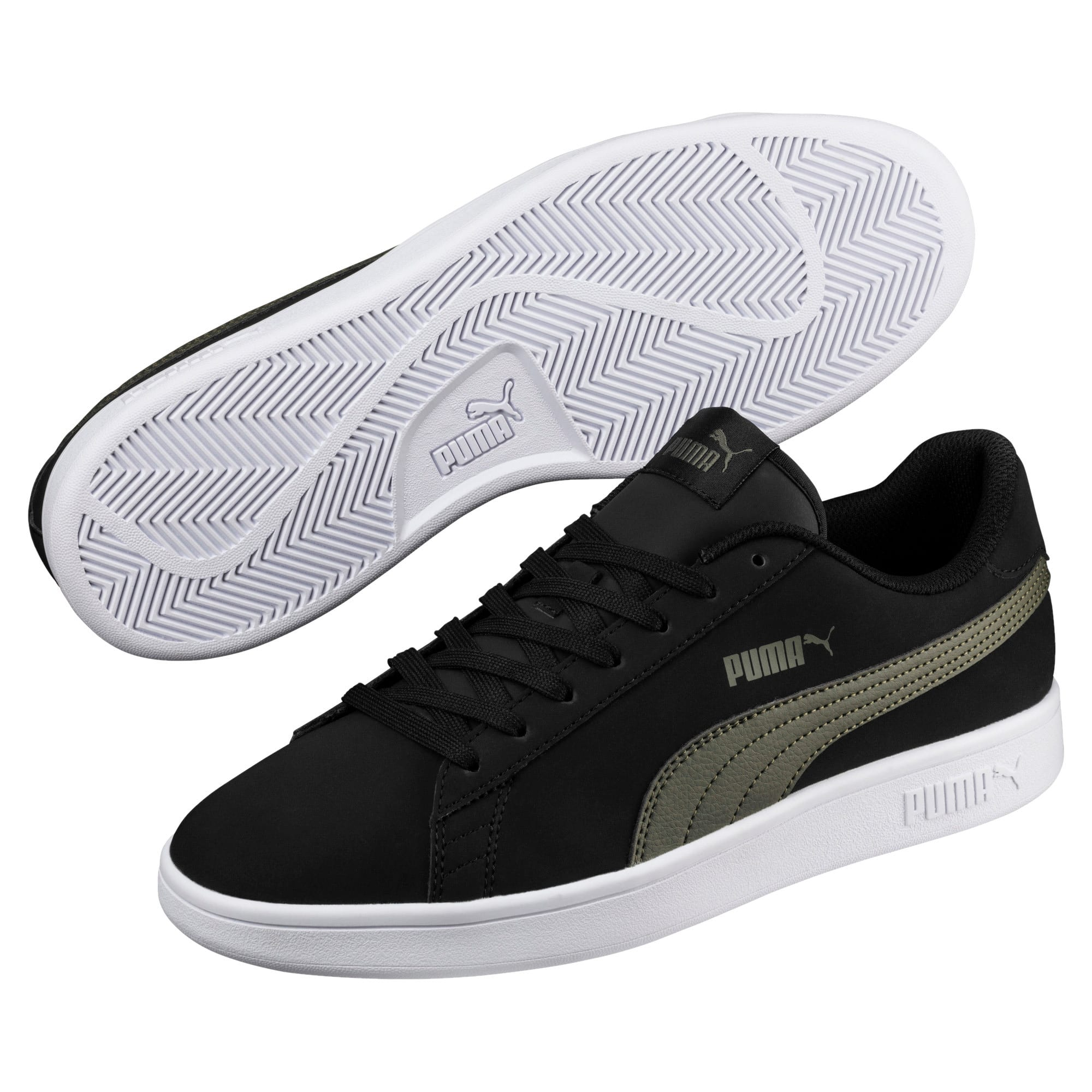 Thumbnail 2 of Smash v2 Buck Sneaker, Puma Black-Forest Night, medium