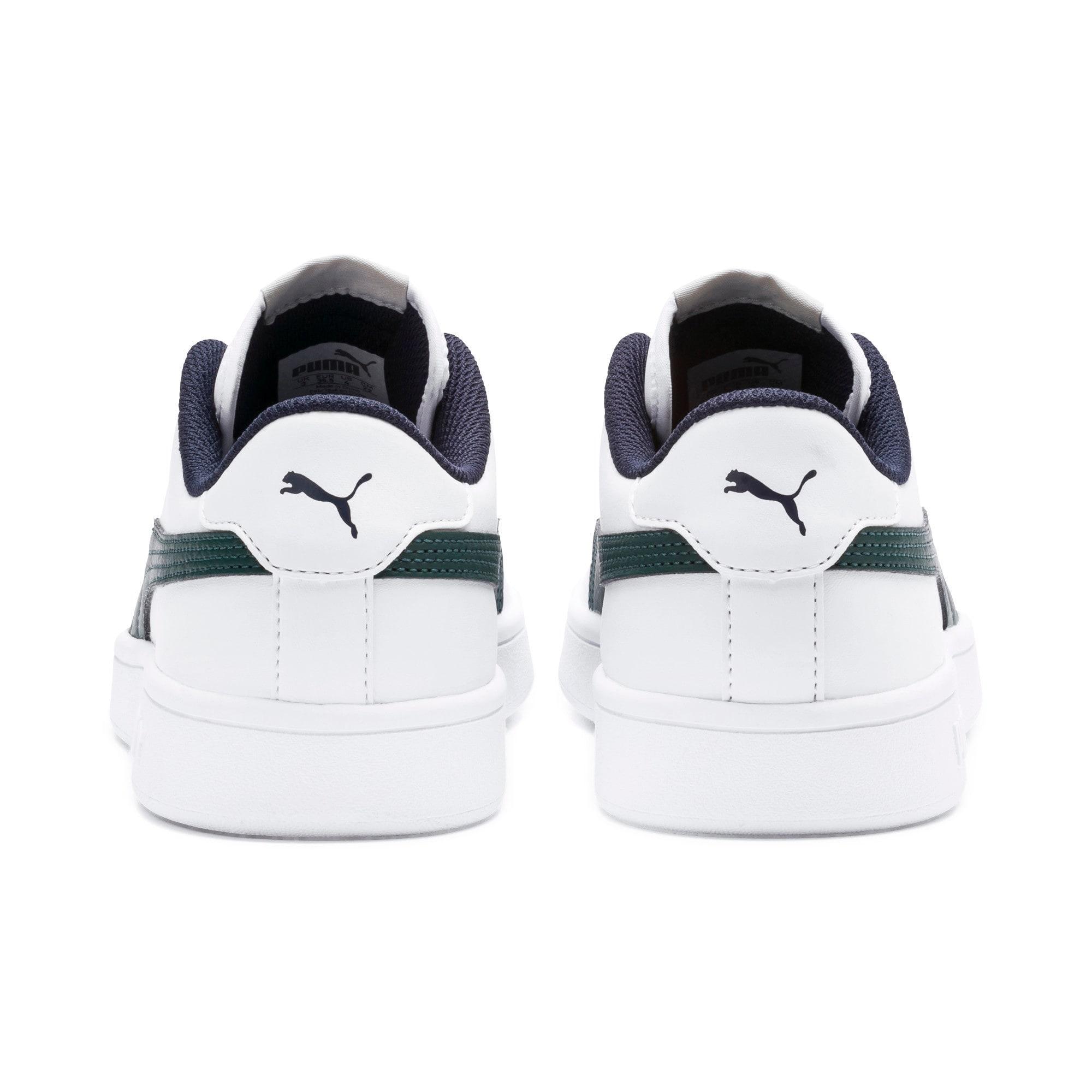 Thumbnail 3 of PUMA Smash v2 Youth Sneaker, Puma White-Ponderosa Pine, medium