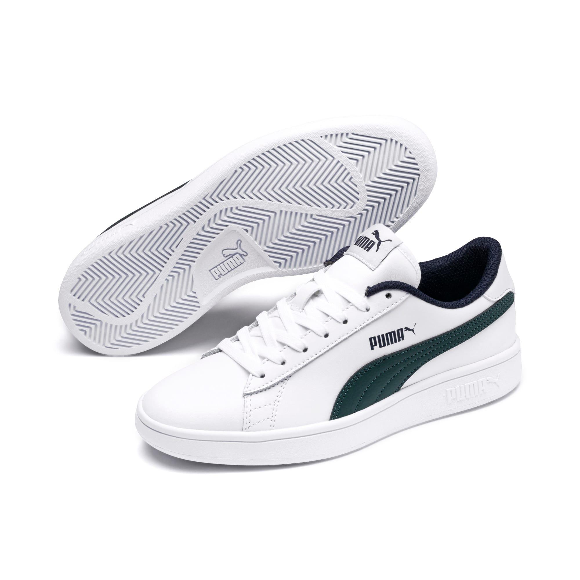 Thumbnail 2 of PUMA Smash v2 Youth Sneaker, Puma White-Ponderosa Pine, medium