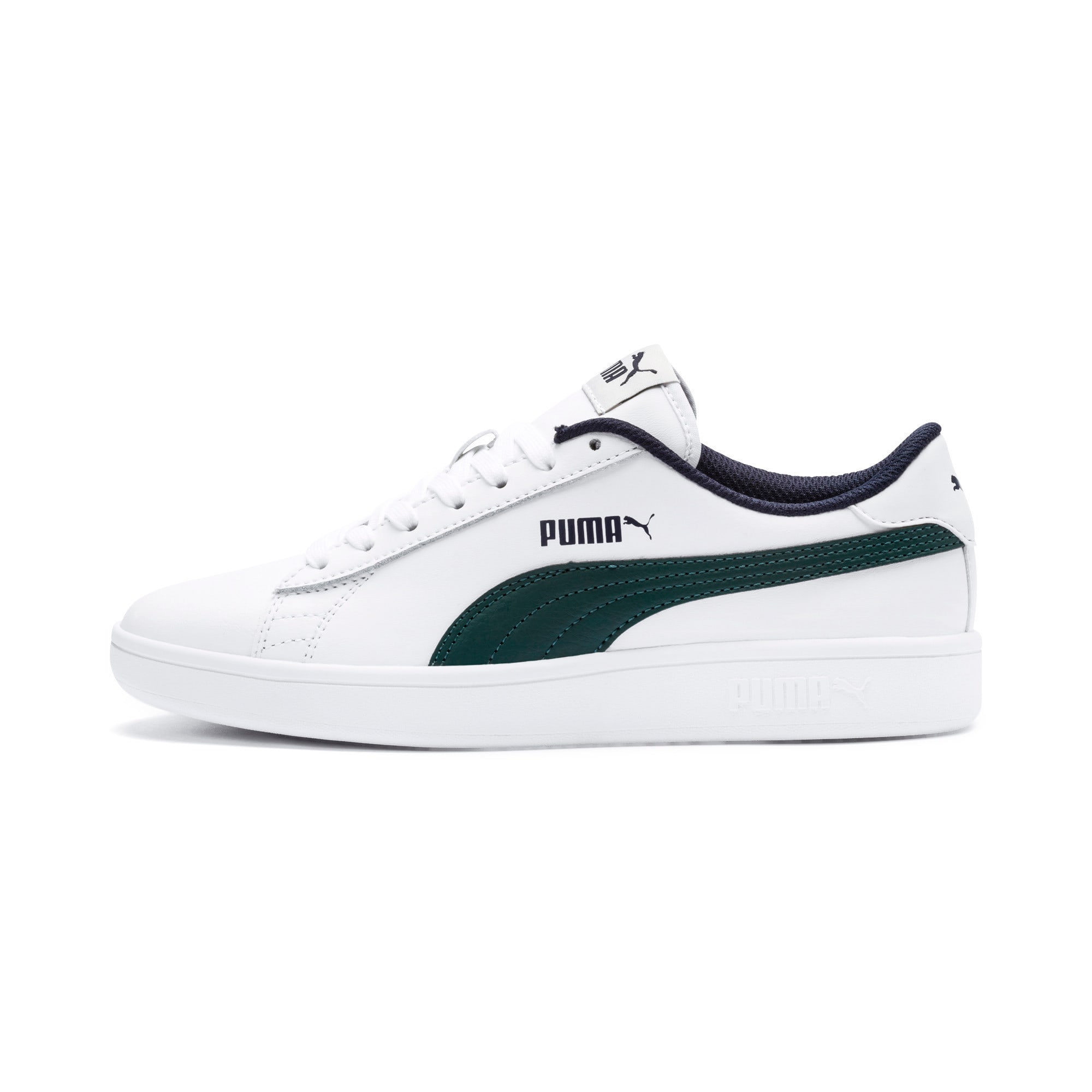 Thumbnail 1 of PUMA Smash v2 Youth Sneaker, Puma White-Ponderosa Pine, medium