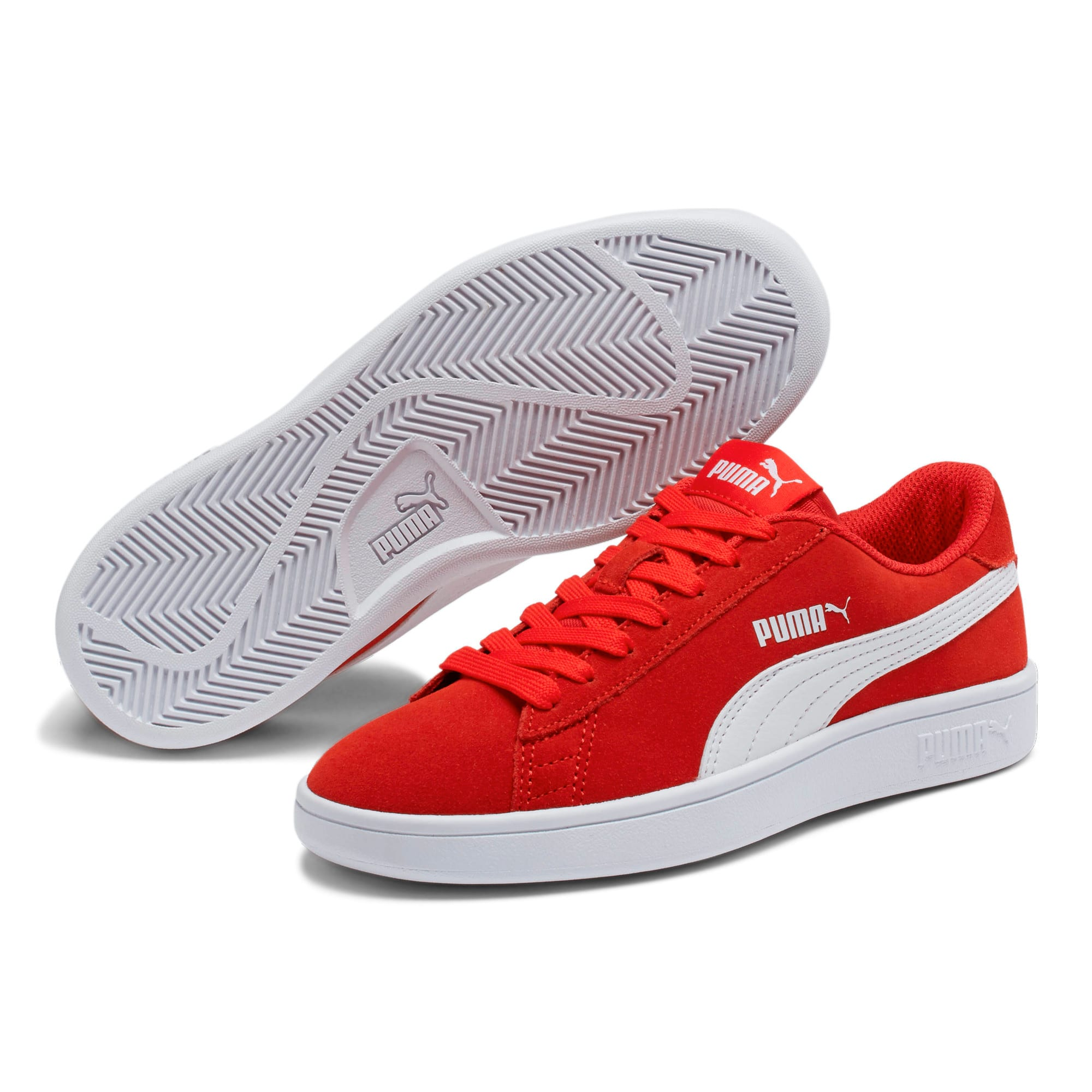 Thumbnail 2 of Smash v2 Suede Sneakers JR, High Risk Red-Puma White, medium