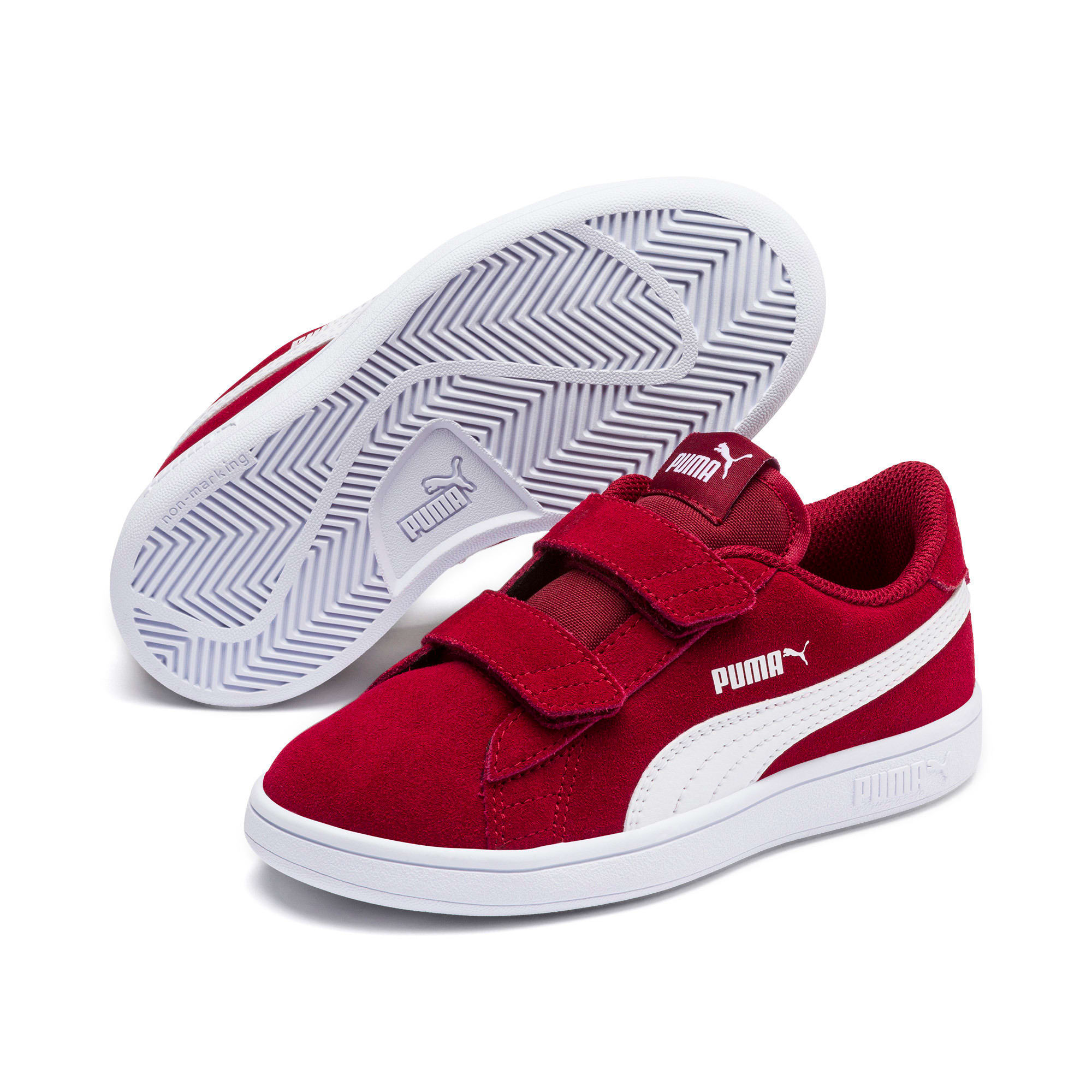 Thumbnail 2 of Smash v2 Suede Little Kids' Shoes, Rhubarb-Puma White, medium