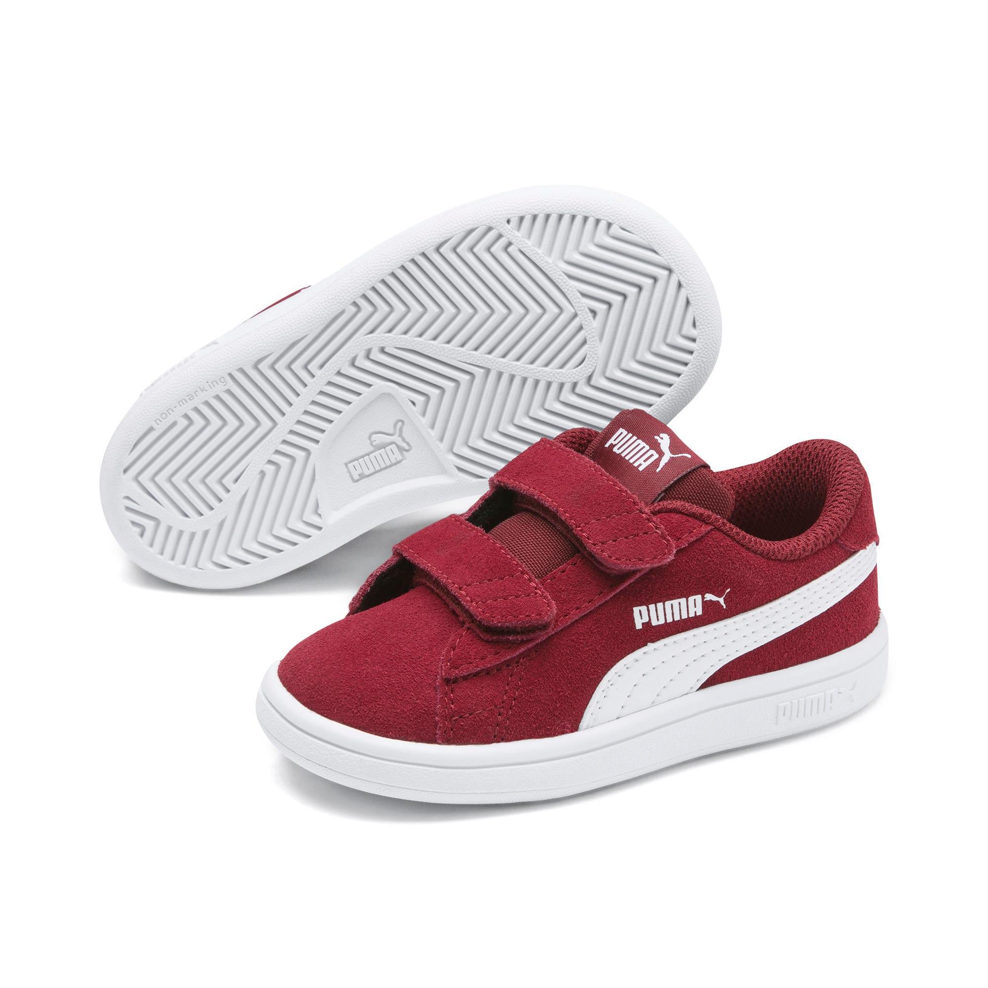 Thumbnail 2 of PUMA Smash v2 Suede Toddler Shoes, Rhubarb-Puma White, medium
