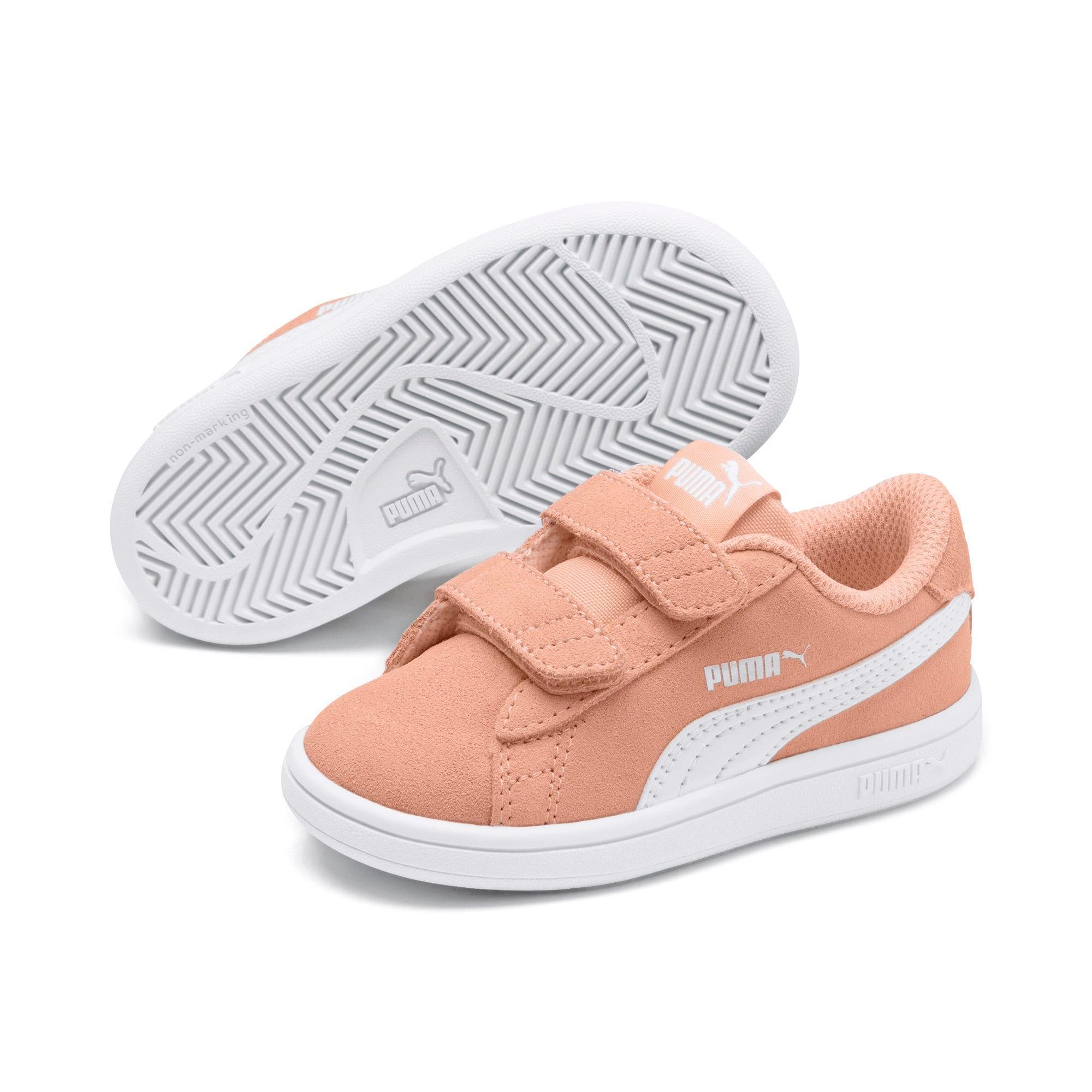 Thumbnail 2 of PUMA Smash v2 Suede Toddler Shoes, Peach Parfait-Puma White, medium