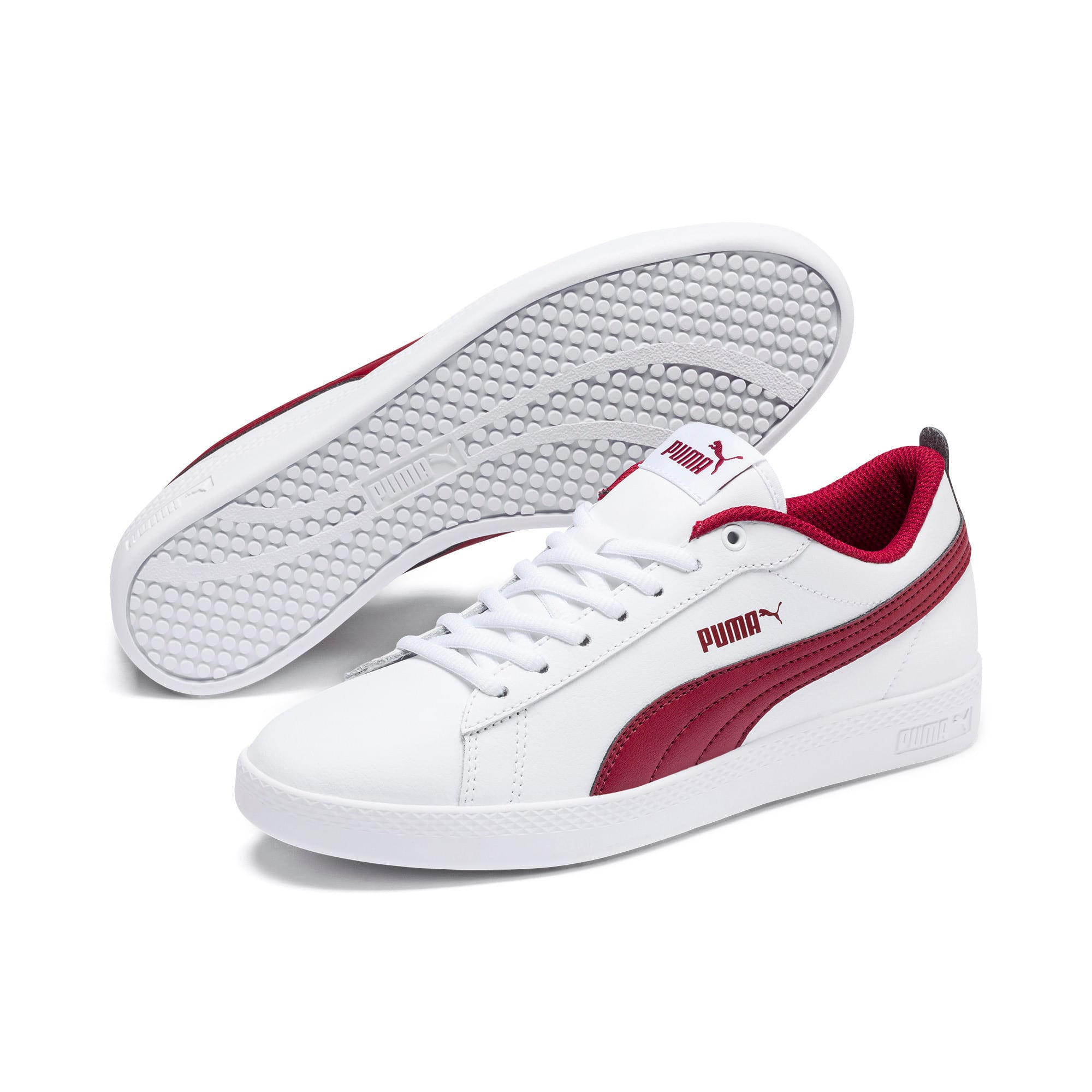 Thumbnail 3 of Basket en cuir Smash v2 pour femme, Puma White-Rhubarb, medium