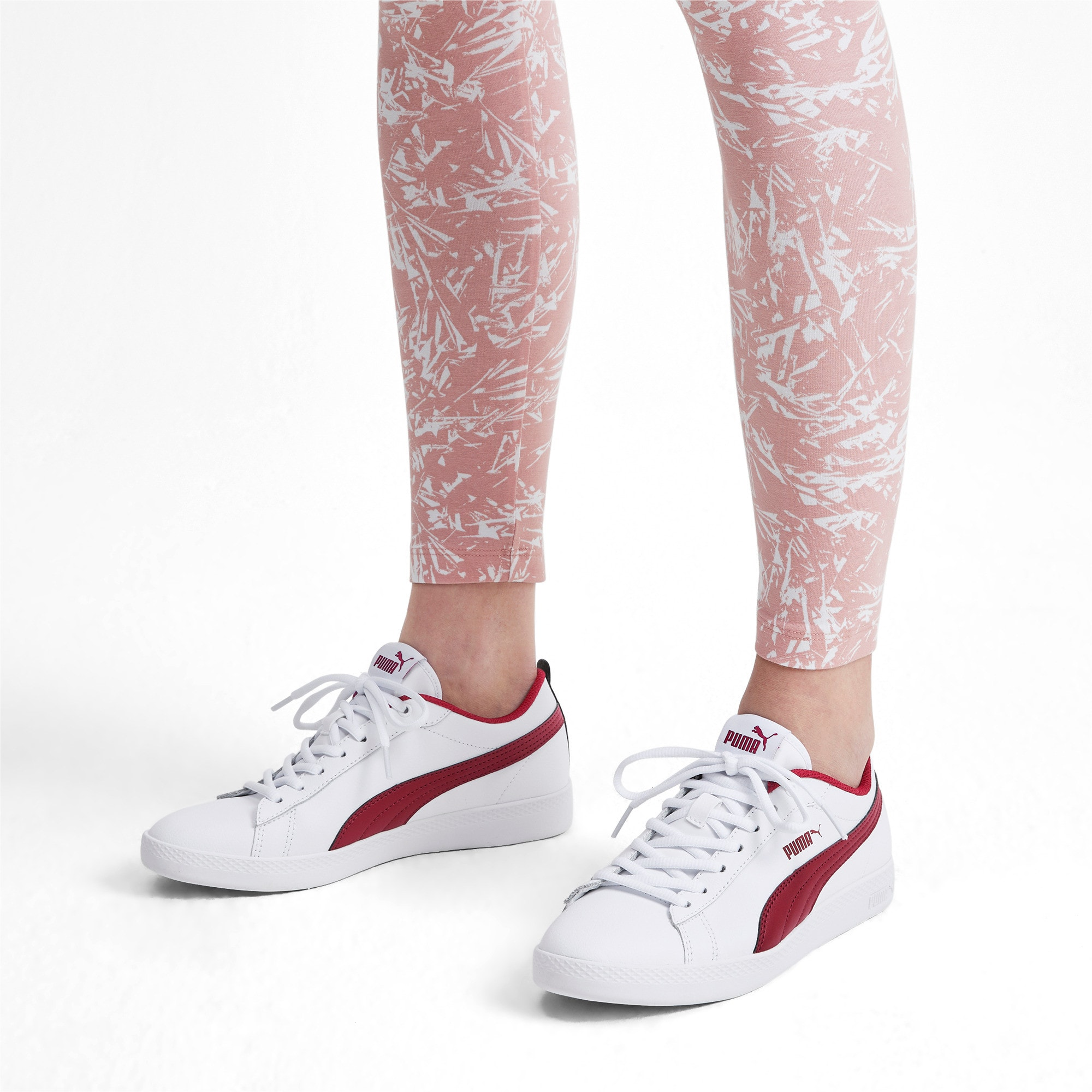 Thumbnail 2 of Basket en cuir Smash v2 pour femme, Puma White-Rhubarb, medium
