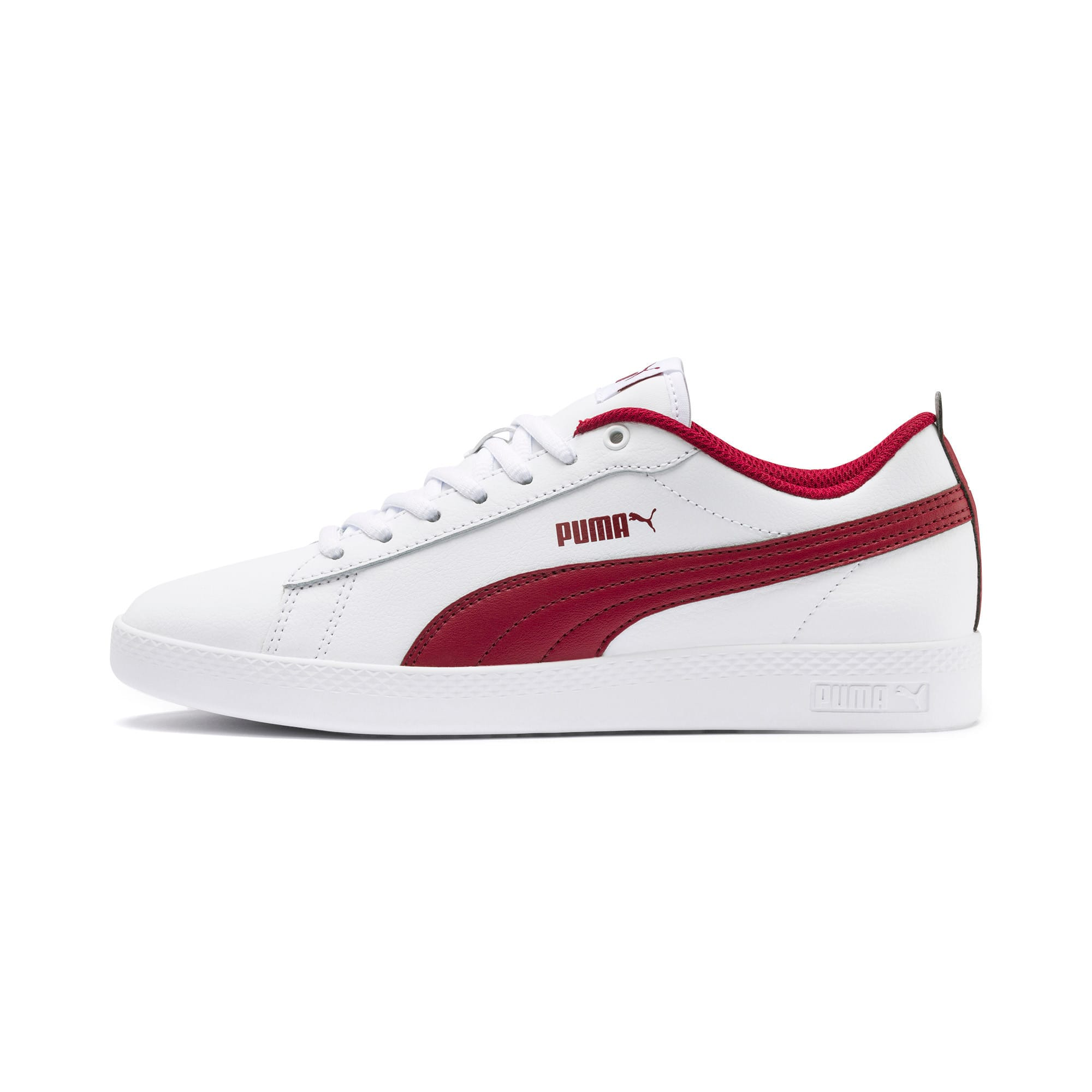 Thumbnail 1 of Basket en cuir Smash v2 pour femme, Puma White-Rhubarb, medium
