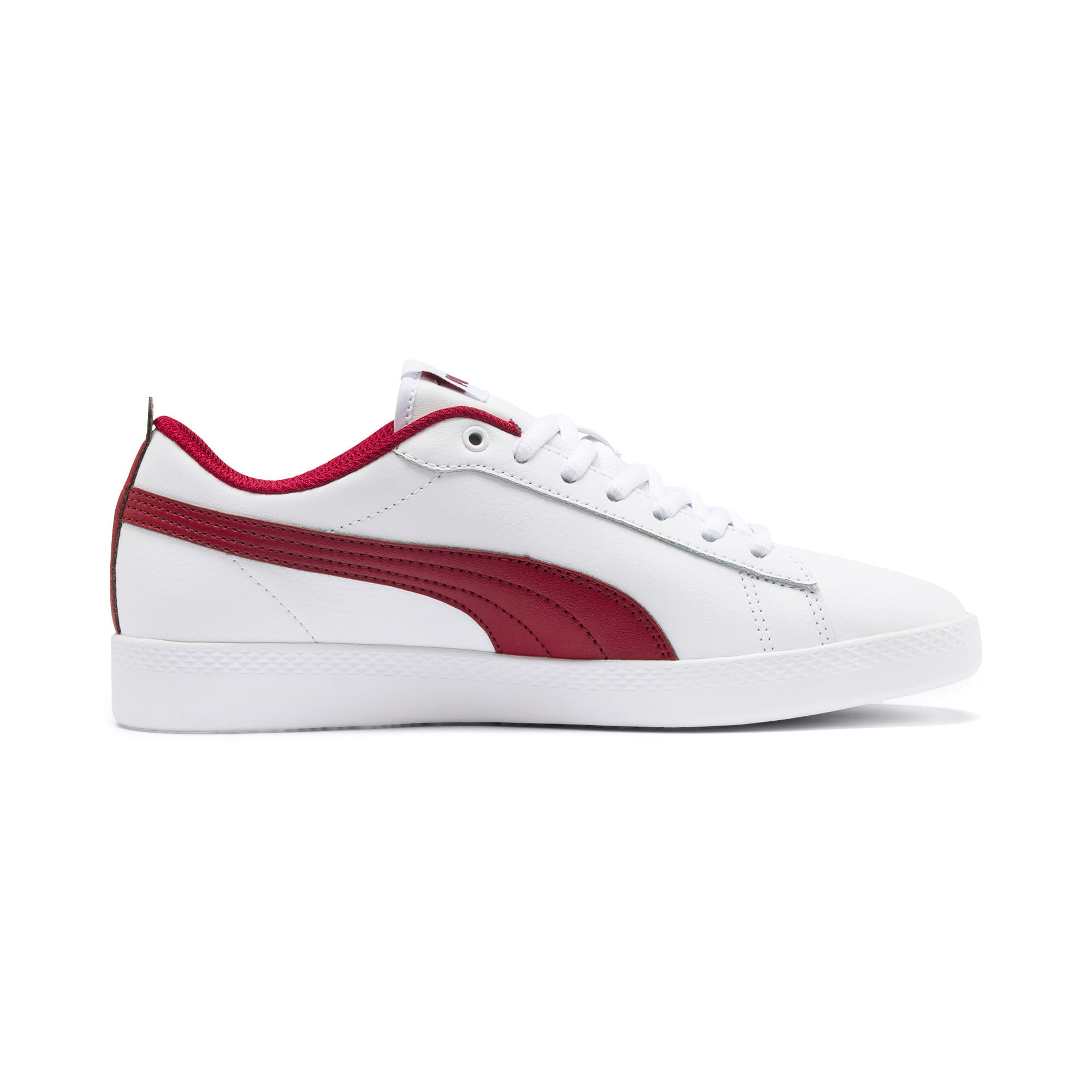 Thumbnail 6 of Basket en cuir Smash v2 pour femme, Puma White-Rhubarb, medium