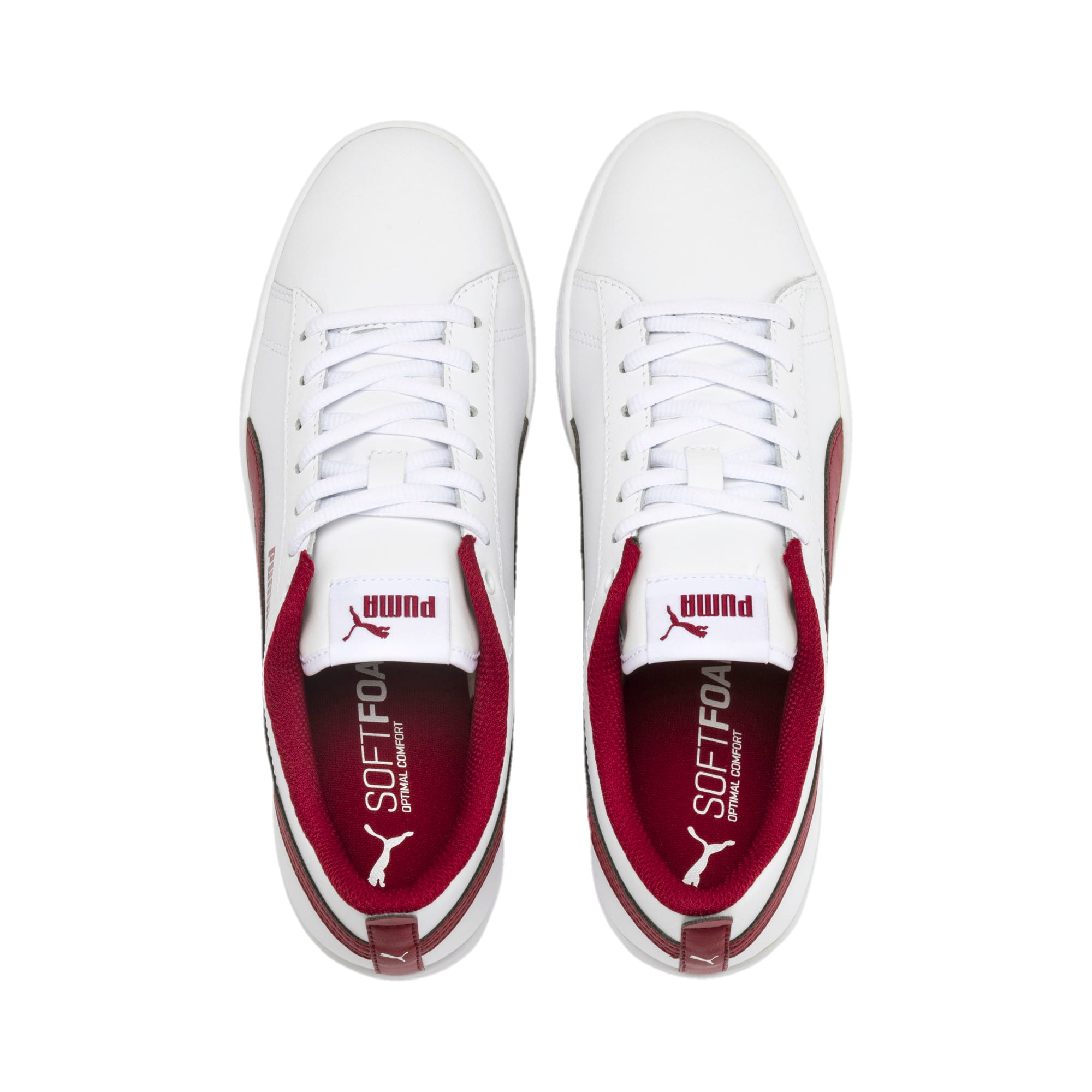 Thumbnail 7 of Basket en cuir Smash v2 pour femme, Puma White-Rhubarb, medium