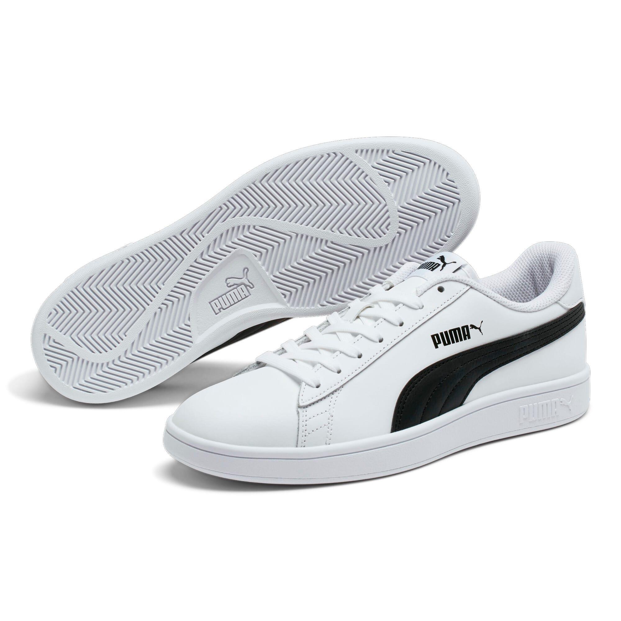Thumbnail 2 of Smash v2 Leather Sneakers, Puma White-Puma Black, medium