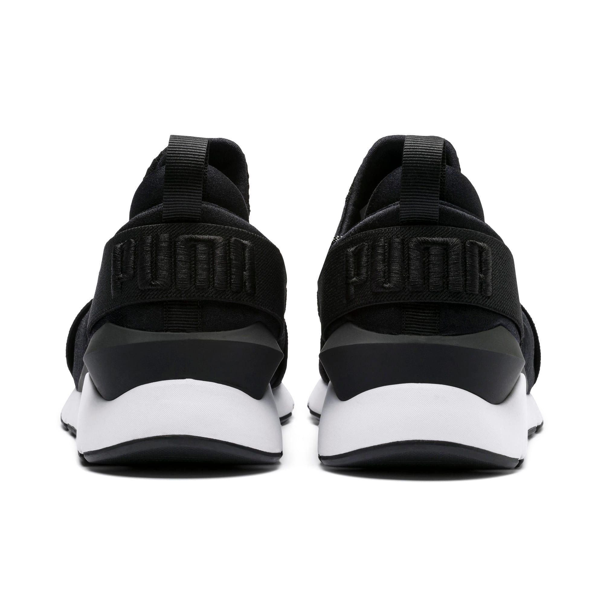 Thumbnail 3 of En Pointe Muse Satin Women's Sneakers, Puma Black-Puma White, medium