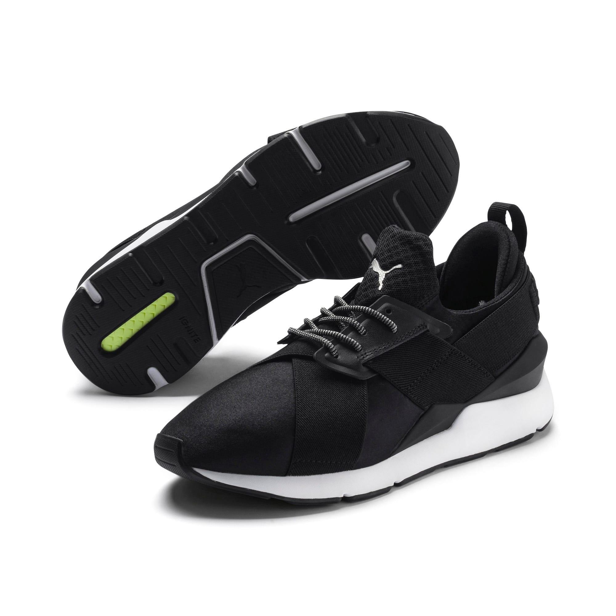 Thumbnail 2 of En Pointe Muse Satin Women's Sneakers, Puma Black-Puma White, medium