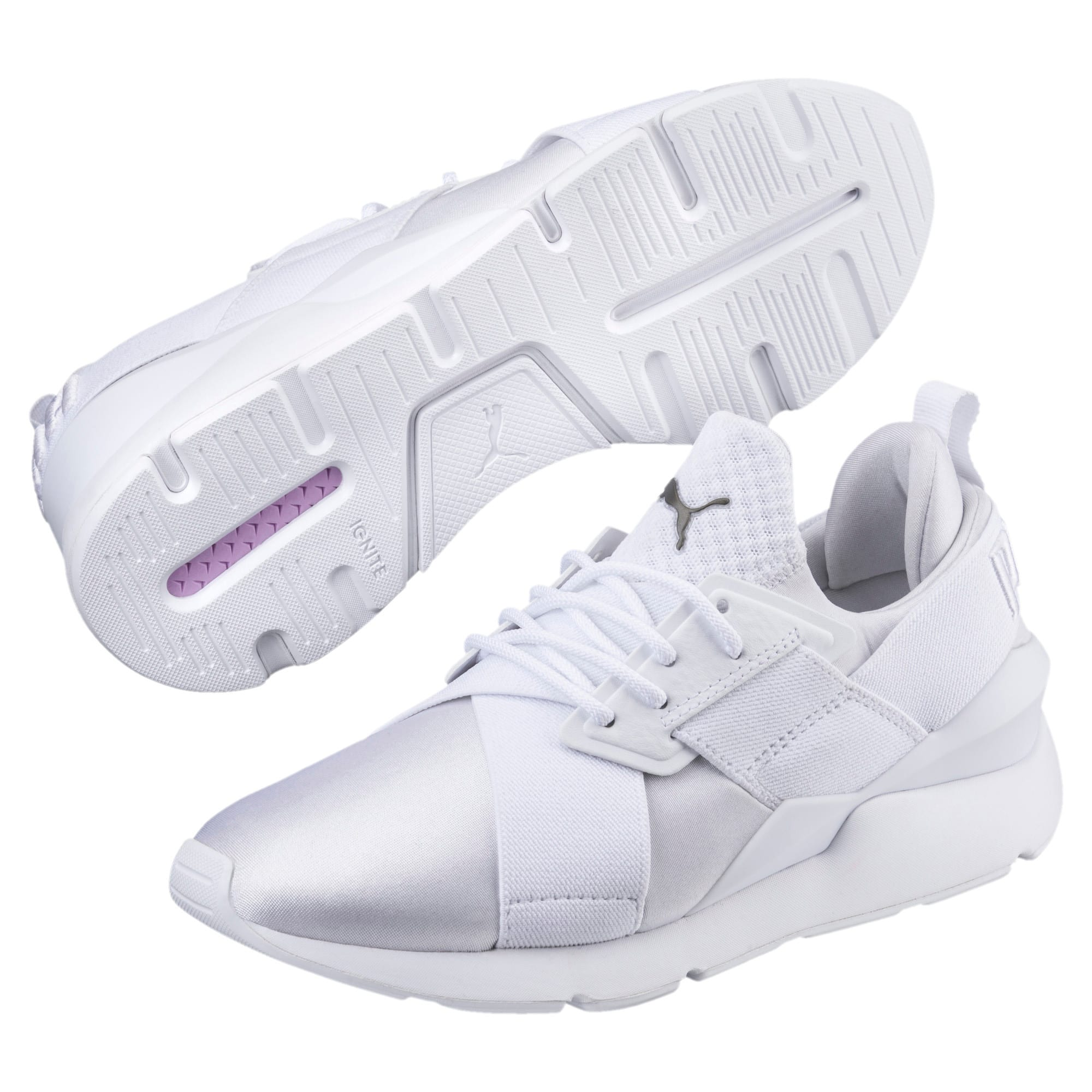 Thumbnail 2 of En Pointe Muse Satin Women's Sneakers, Puma White-Puma White, medium