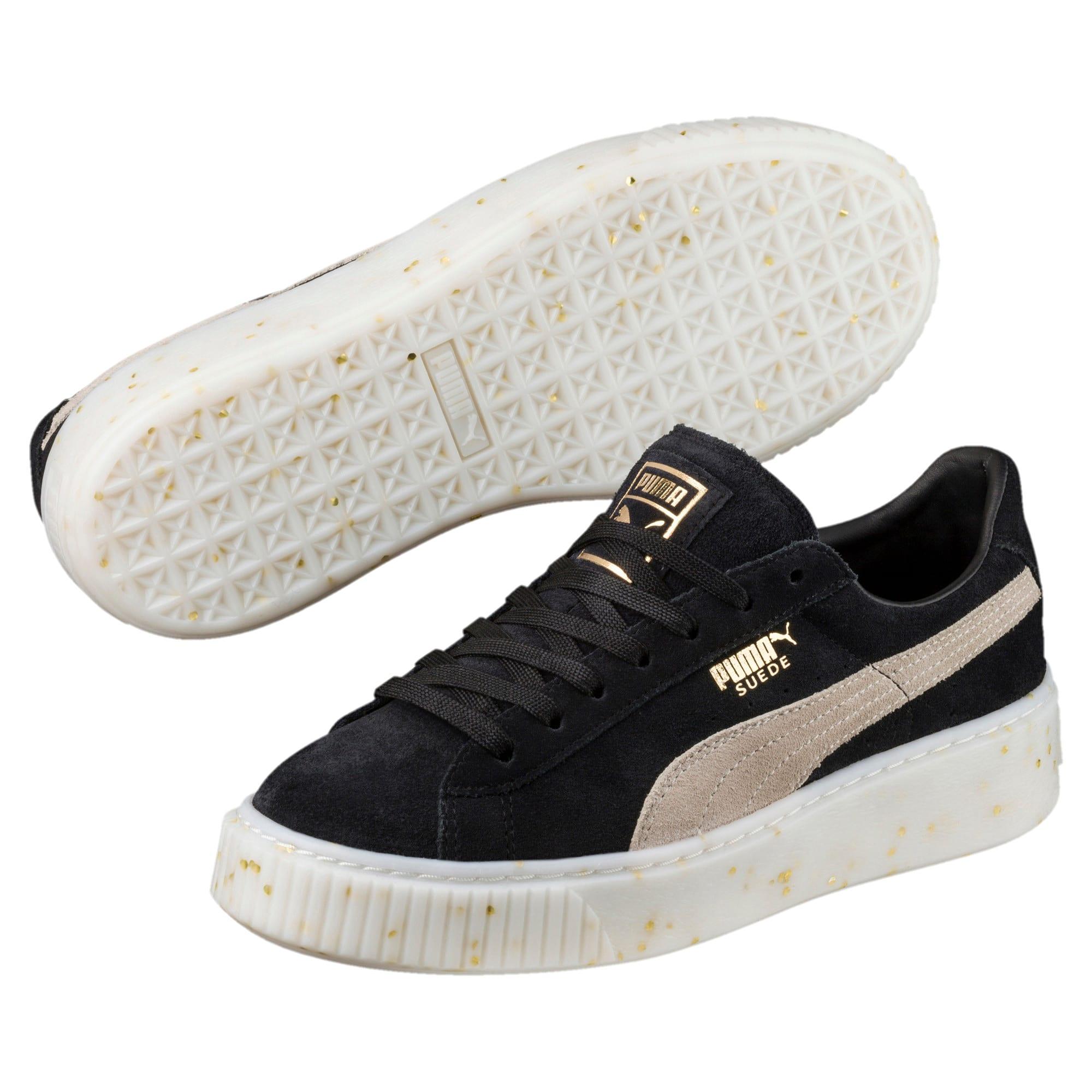 Thumbnail 2 of Suede Platform Celebrate Women's Sneakers, Puma Black-Puma White-Gold, medium