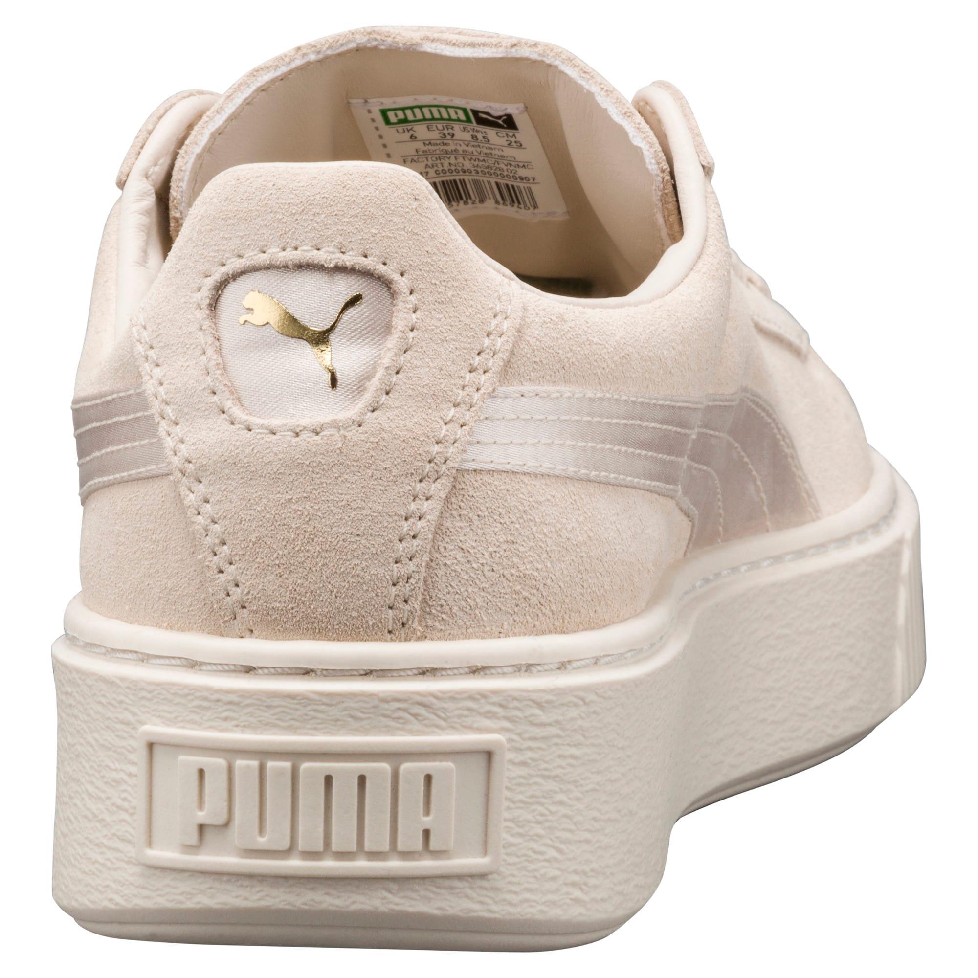 Thumbnail 4 of Suede Summer Satin Platform Sneakers, Pink Tint-Whisper White-Gold, medium