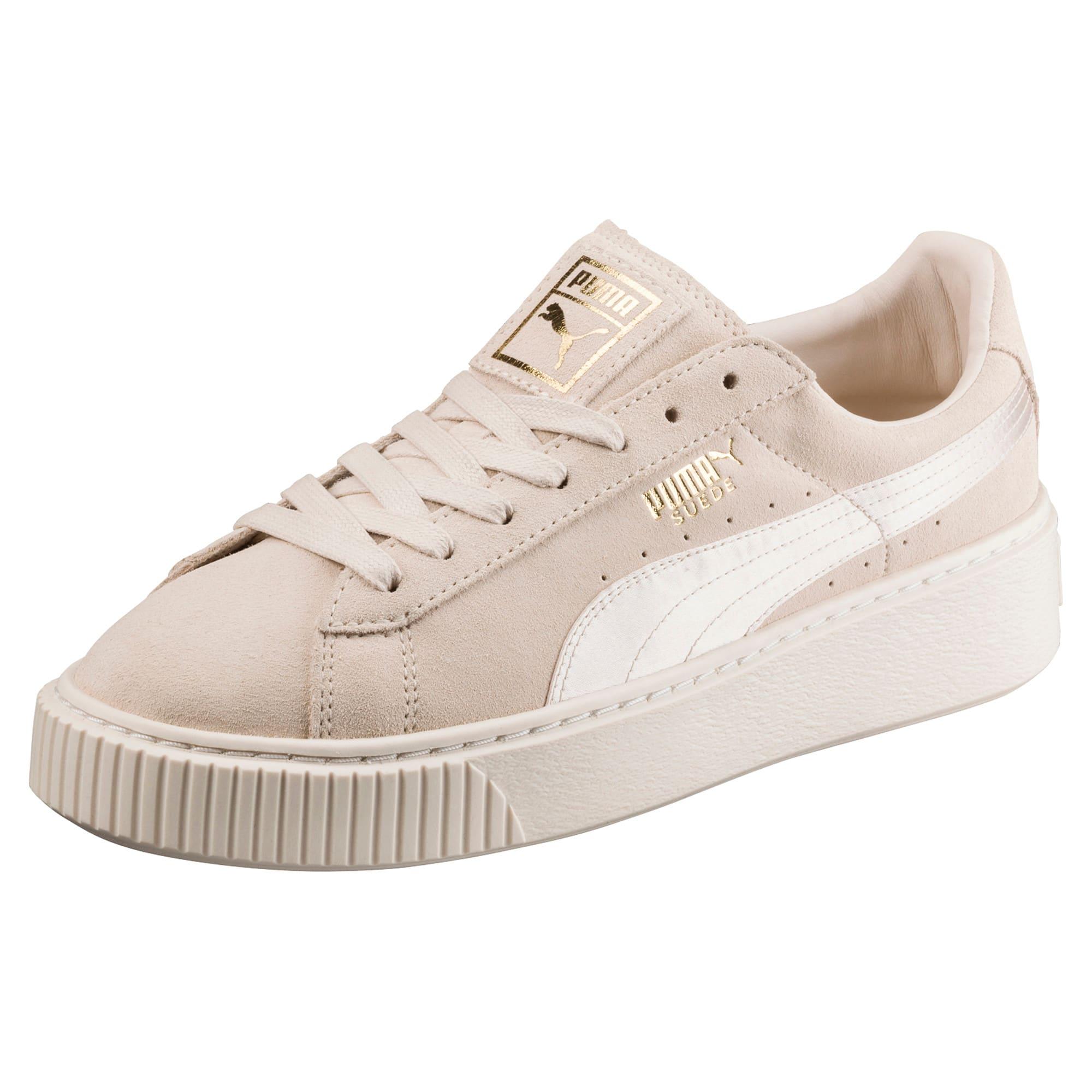 Thumbnail 1 of Suede Summer Satin Platform Sneakers, Pink Tint-Whisper White-Gold, medium
