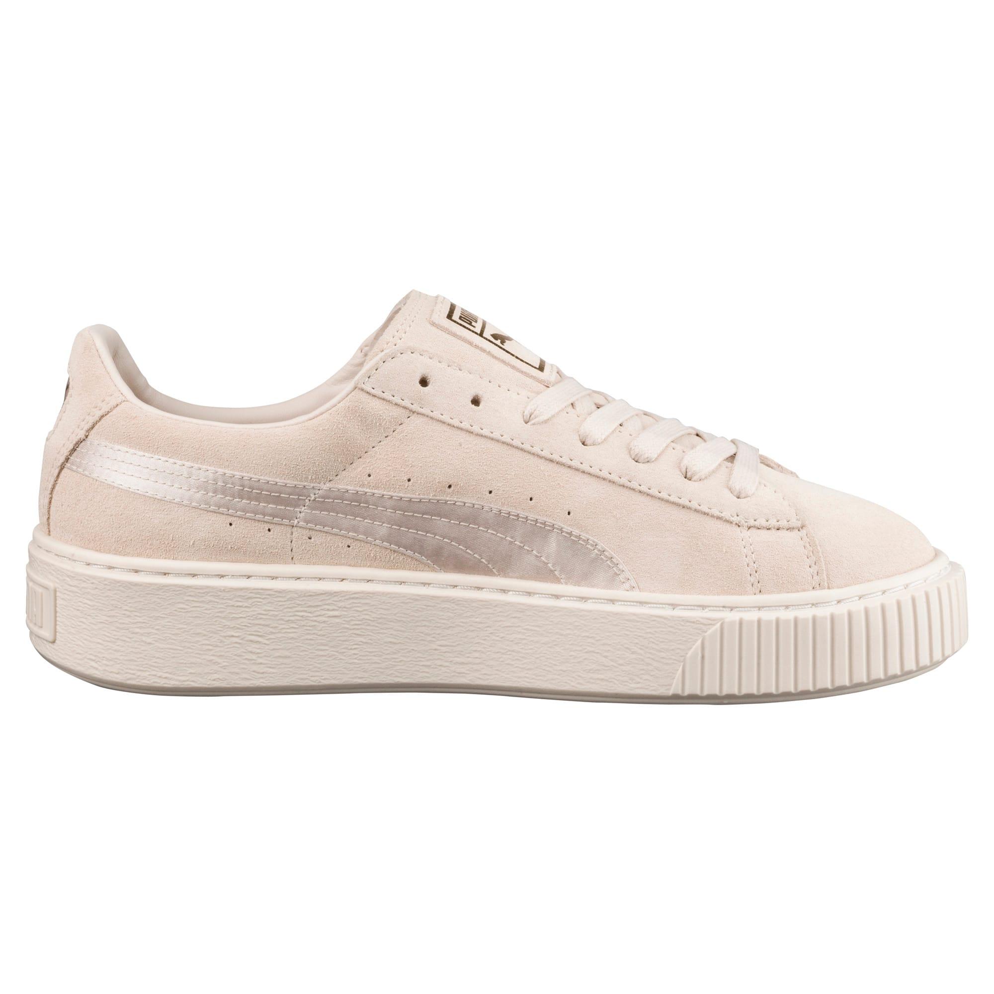 Thumbnail 3 of Suede Summer Satin Platform Sneakers, Pink Tint-Whisper White-Gold, medium