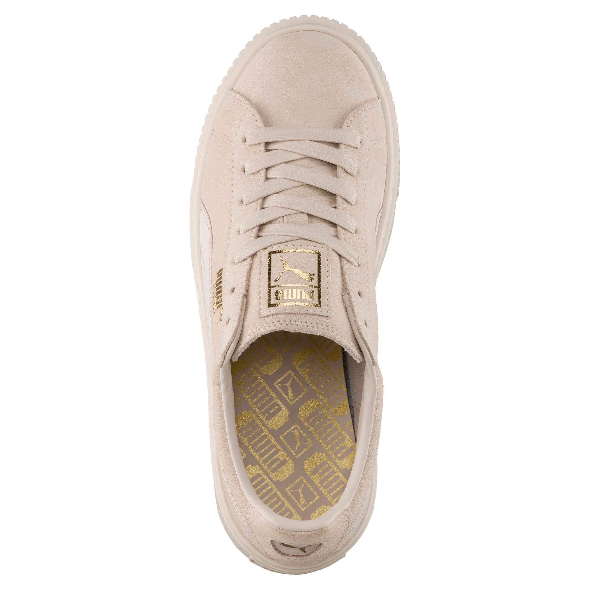 Thumbnail 5 of Suede Summer Satin Platform Sneakers, Pink Tint-Whisper White-Gold, medium