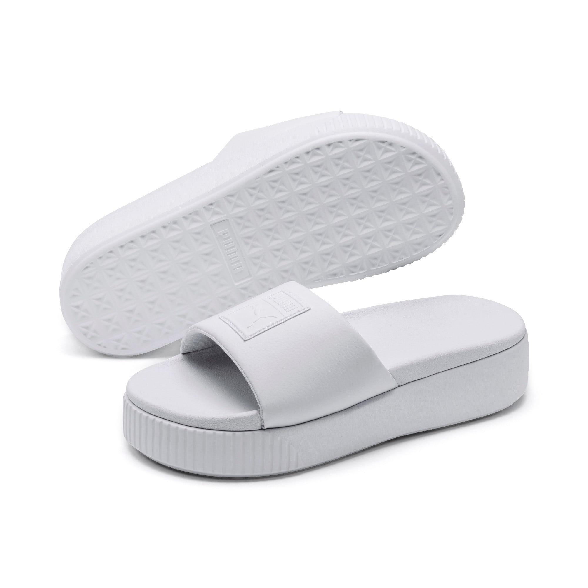 Thumbnail 2 of Platform Slide Women's Sandals, Puma White-Puma White, medium