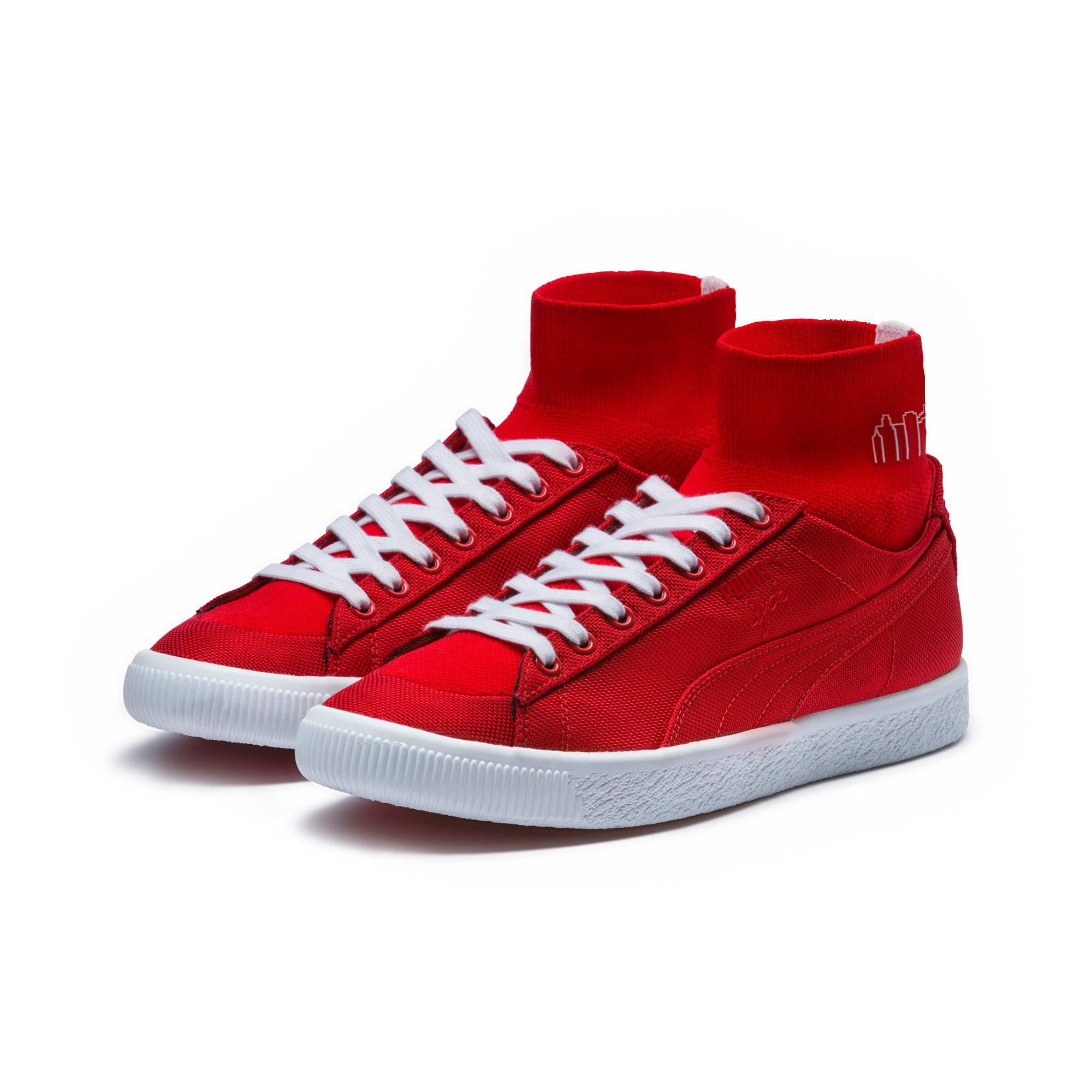 Thumbnail 2 of PUMA x MANHATTAN PORTAGE Clyde Sock Sneakers, High Risk Red-High Risk Red, medium