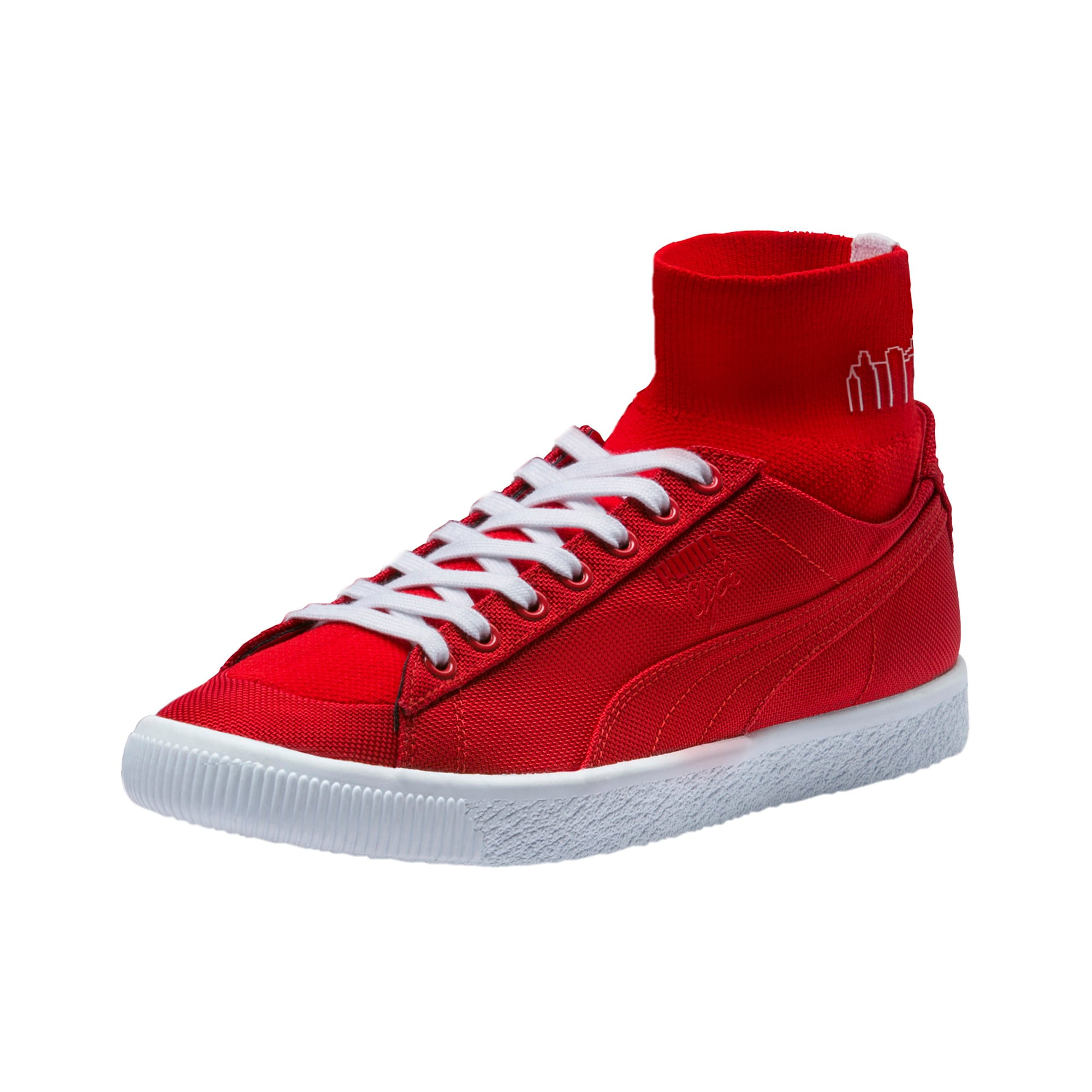 Thumbnail 1 of PUMA x MANHATTAN PORTAGE Clyde Sock Sneakers, High Risk Red-High Risk Red, medium
