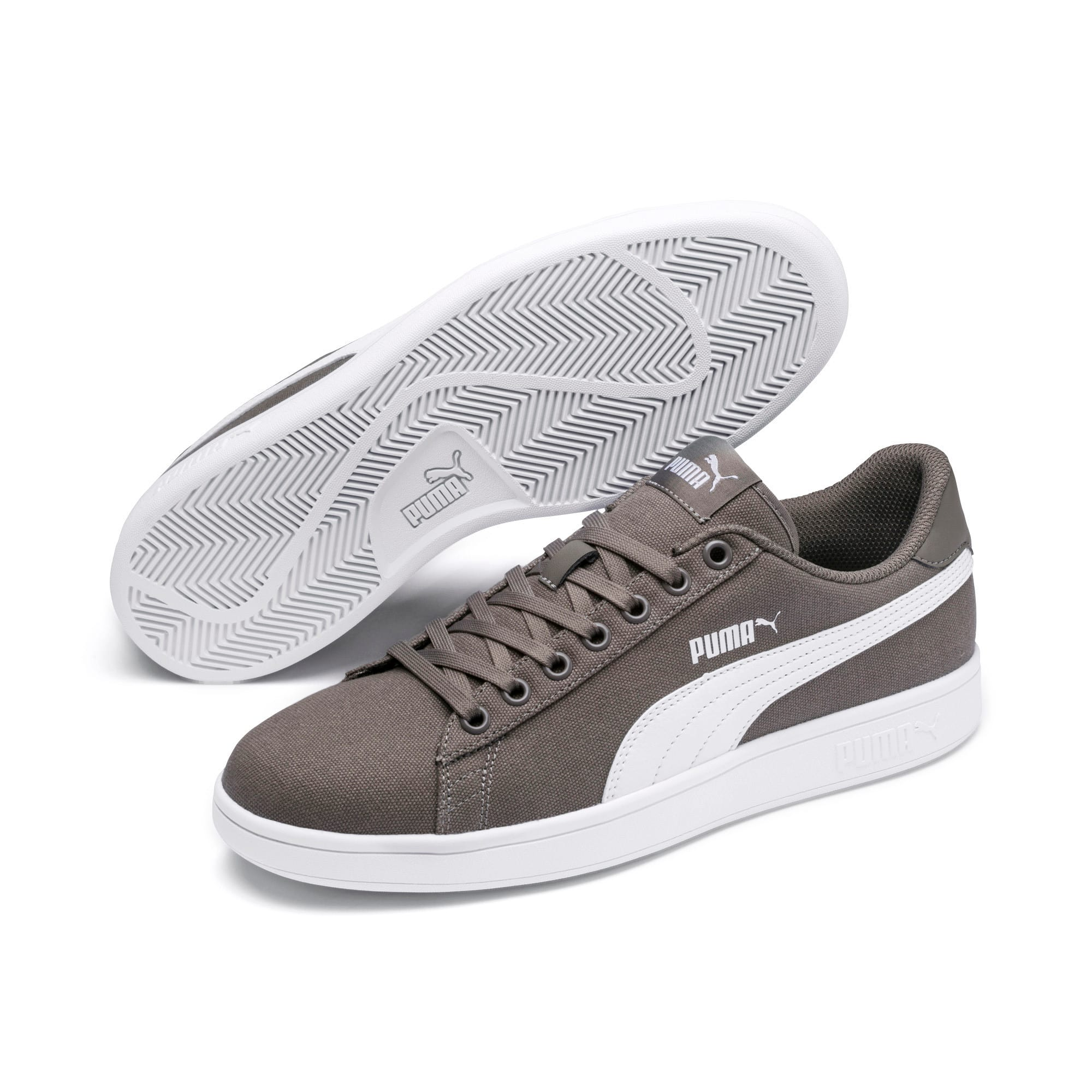 Thumbnail 2 of PUMA Smash v2 Canvas Sneakers, Charcoal Gray-Puma White, medium
