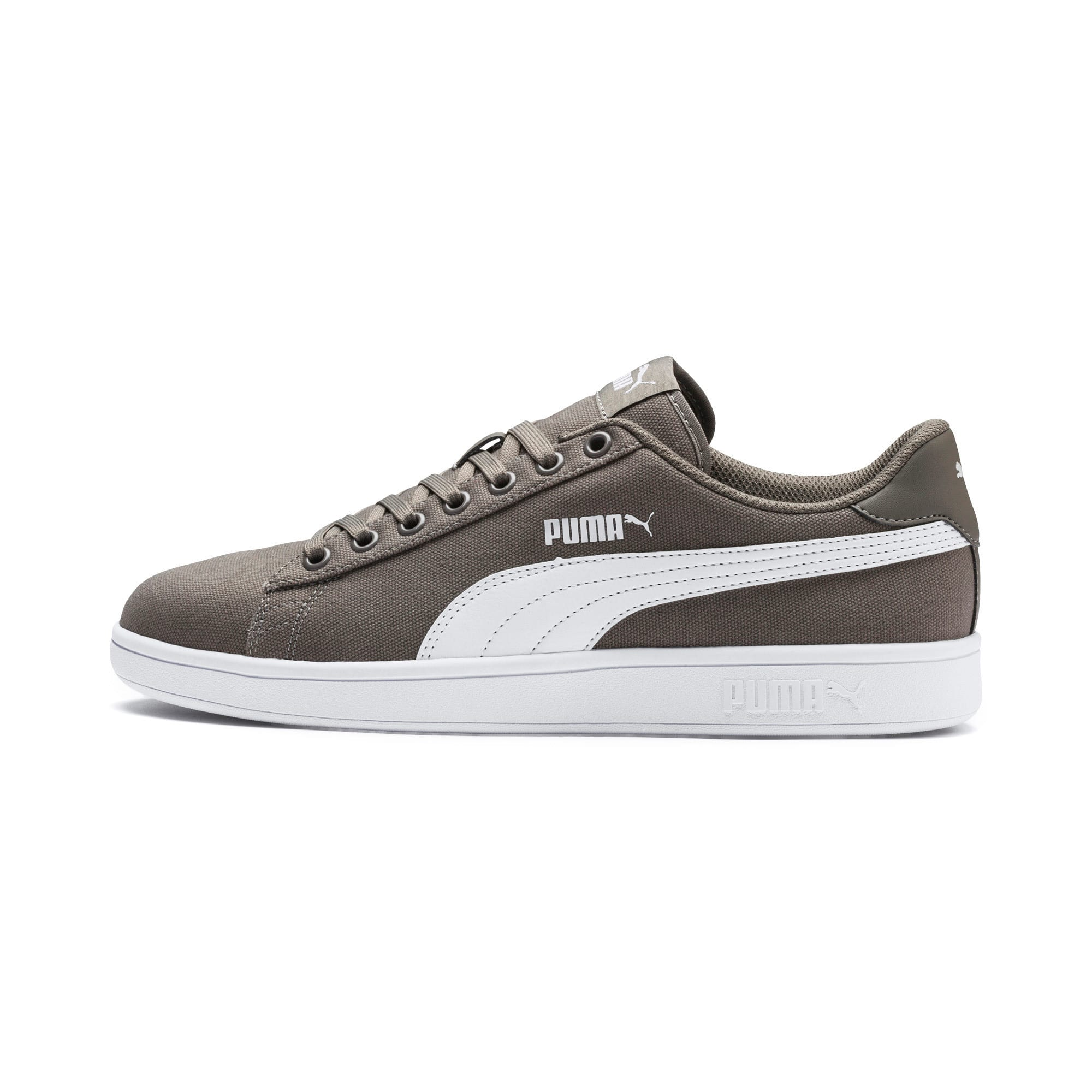 Thumbnail 1 of PUMA Smash v2 Canvas Sneakers, Charcoal Gray-Puma White, medium