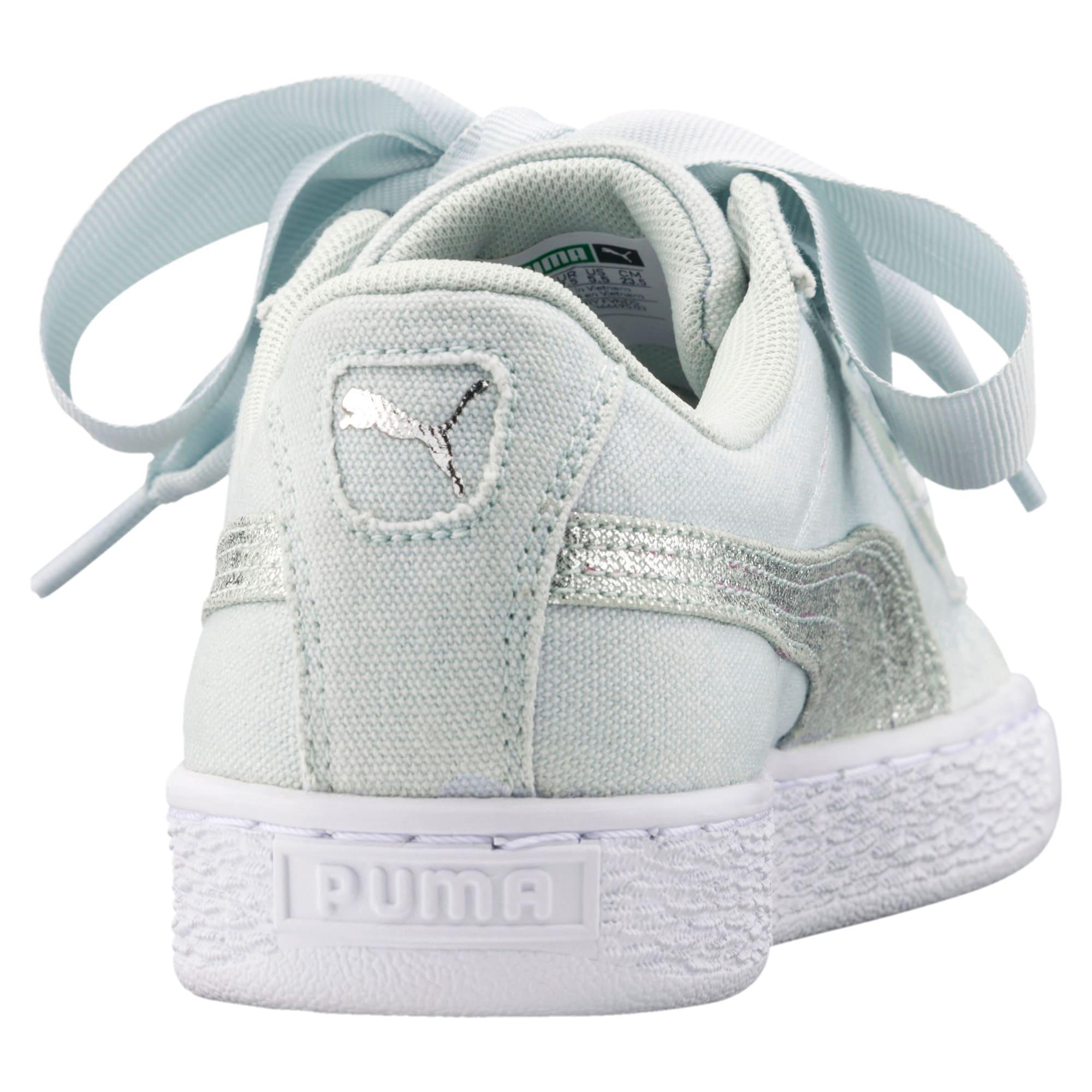 Thumbnail 4 of Basket Heart Canvas Women's Sneakers, Blue Flower-White-Silver, medium