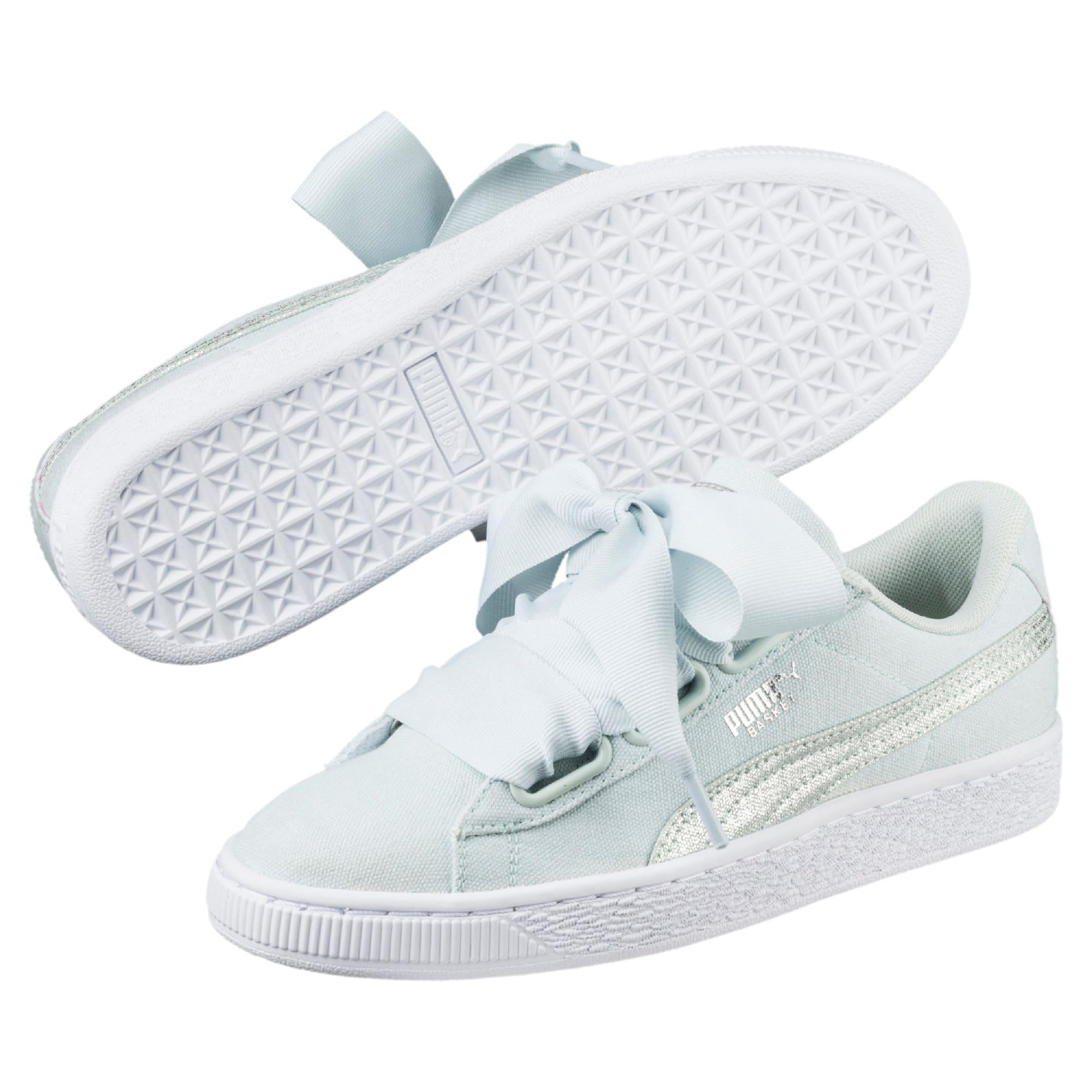 Thumbnail 2 of Basket Heart Canvas Women's Sneakers, Blue Flower-White-Silver, medium