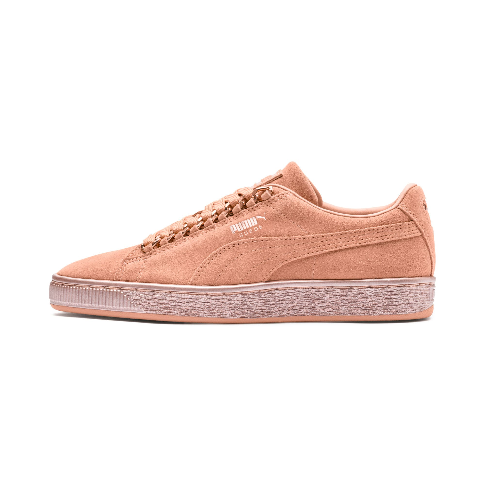 Thumbnail 1 of Suede Classic X-Chain Sneakers JR, Dusty Coral-Rose Gold, medium
