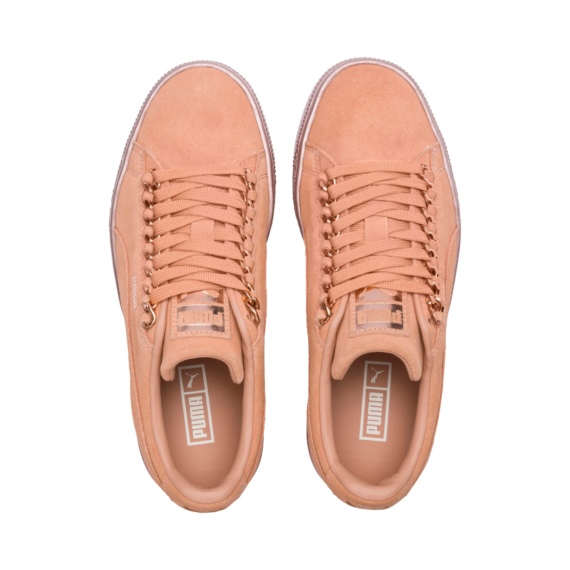 Thumbnail 6 of Suede Classic X-Chain Sneakers JR, Dusty Coral-Rose Gold, medium