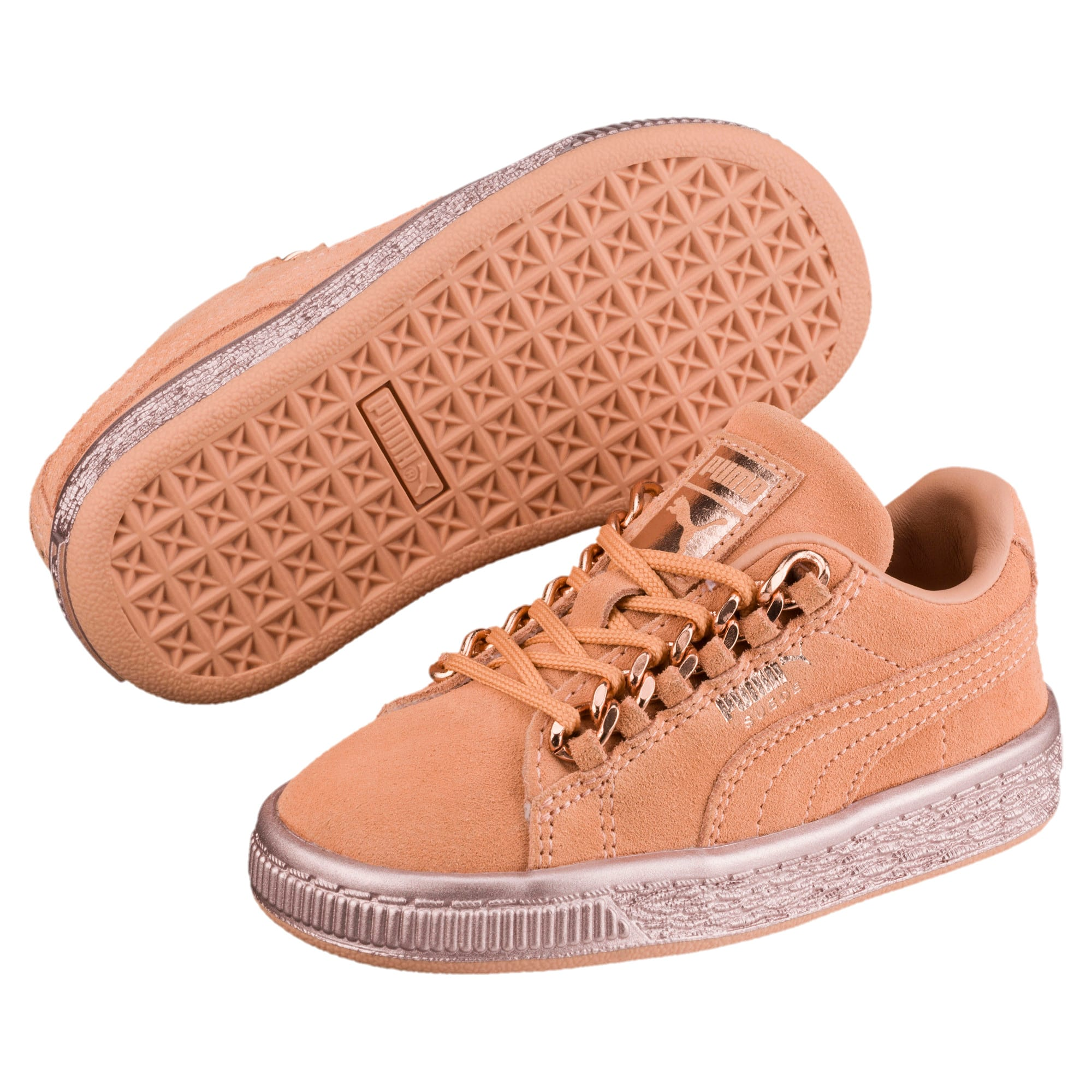 Thumbnail 2 of Suede Classic X-Chain Little Kids' Shoes, Dusty Coral-Rose Gold, medium