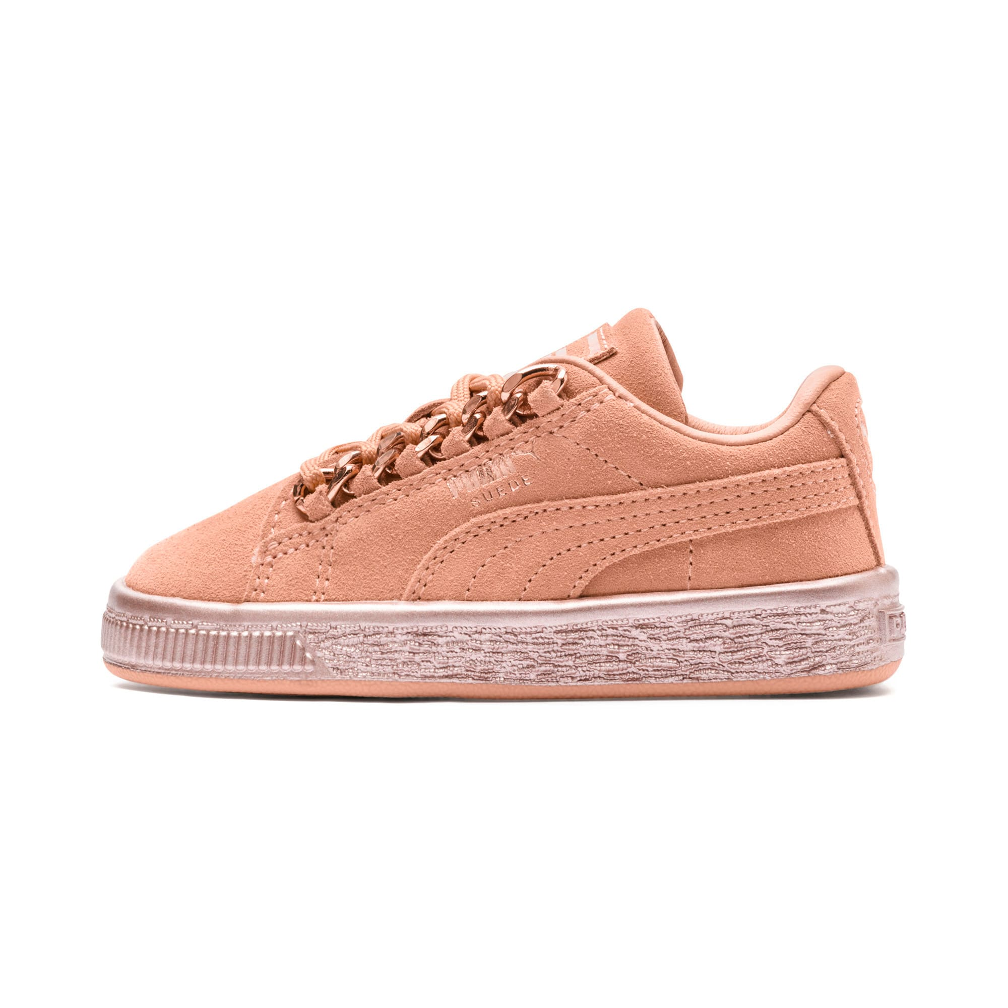 Thumbnail 1 of Suede Classic X-Chain Little Kids' Shoes, Dusty Coral-Rose Gold, medium