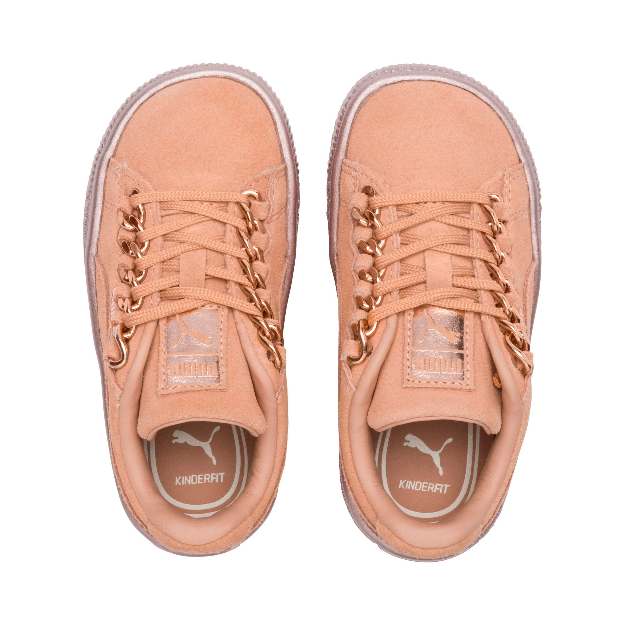 Thumbnail 6 of Suede Classic X-Chain Little Kids' Shoes, Dusty Coral-Rose Gold, medium