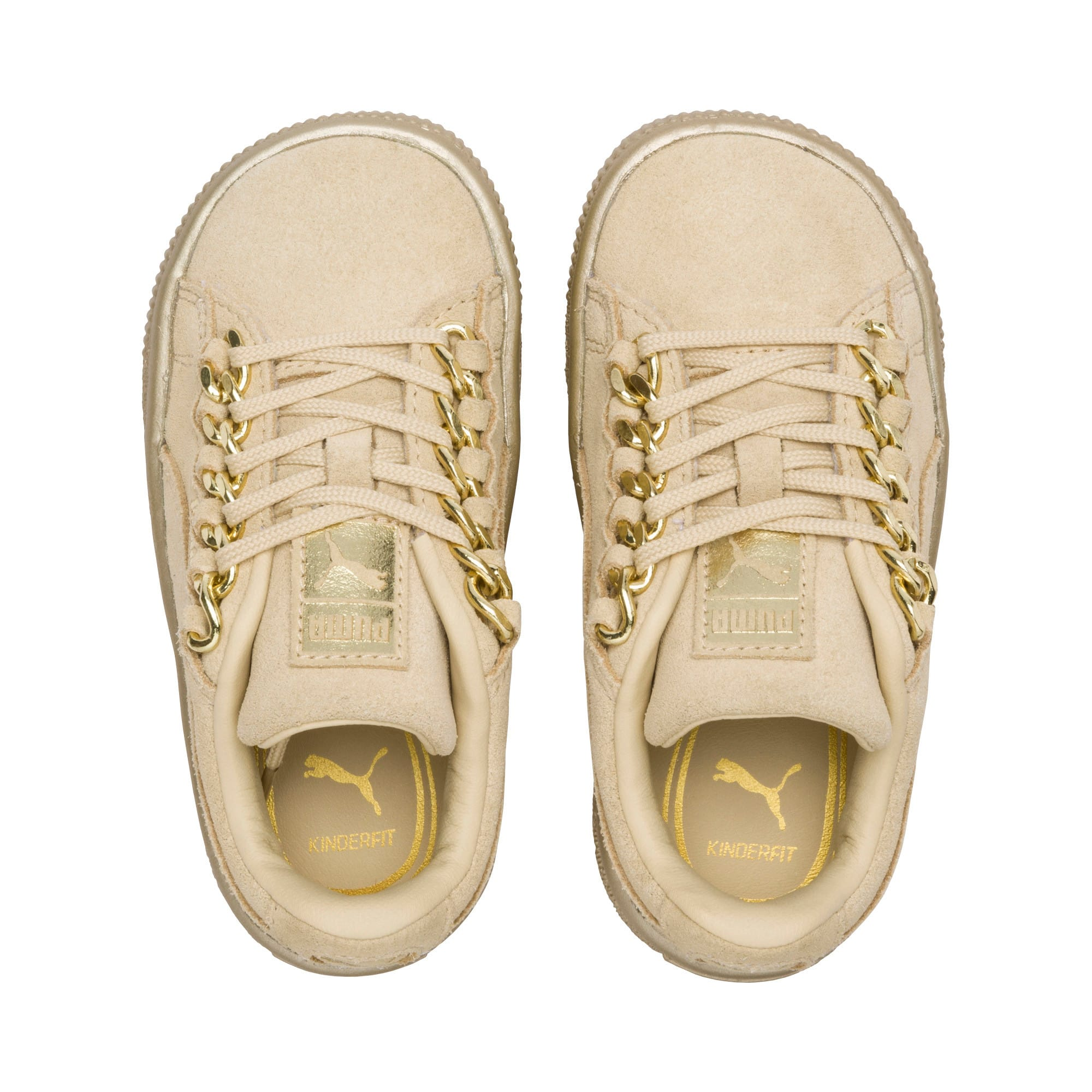 Thumbnail 6 of Suede Classic X-Chain Toddler Shoes, Reed Yellow-Metallic Gold, medium
