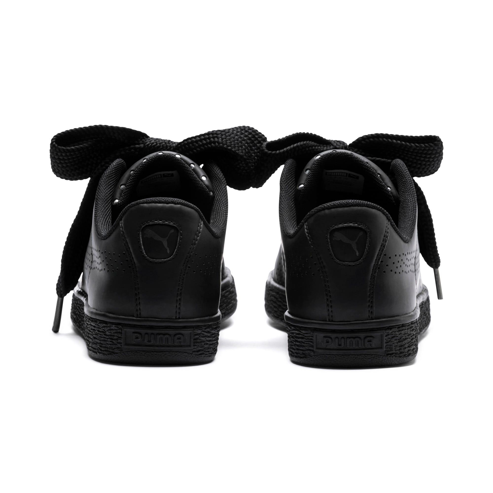 Thumbnail 4 of Basket Heart Lux Women's Sneakers, Puma Black-Puma Black, medium