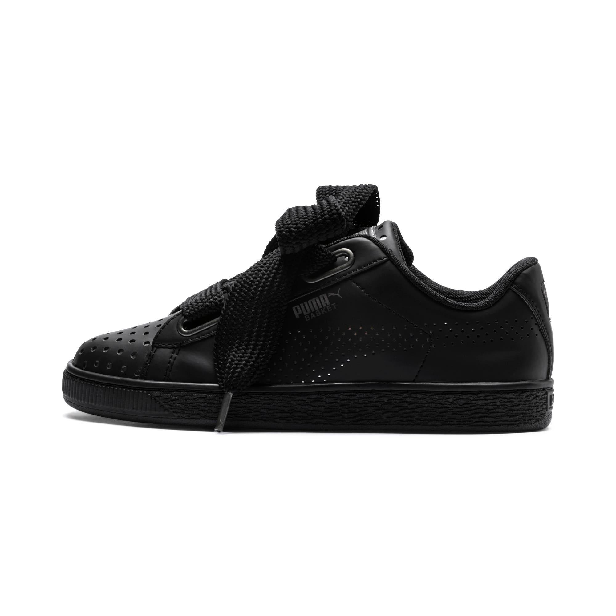 Thumbnail 1 of Basket Heart Lux Women's Sneakers, Puma Black-Puma Black, medium