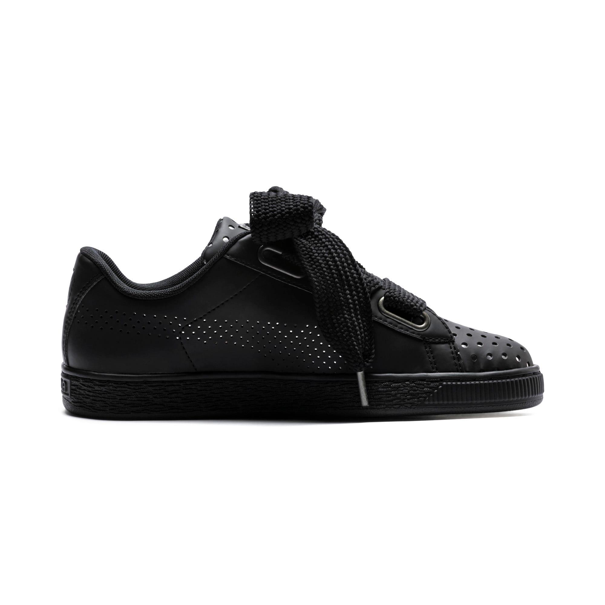 Thumbnail 5 of Basket Heart Lux Women's Sneakers, Puma Black-Puma Black, medium